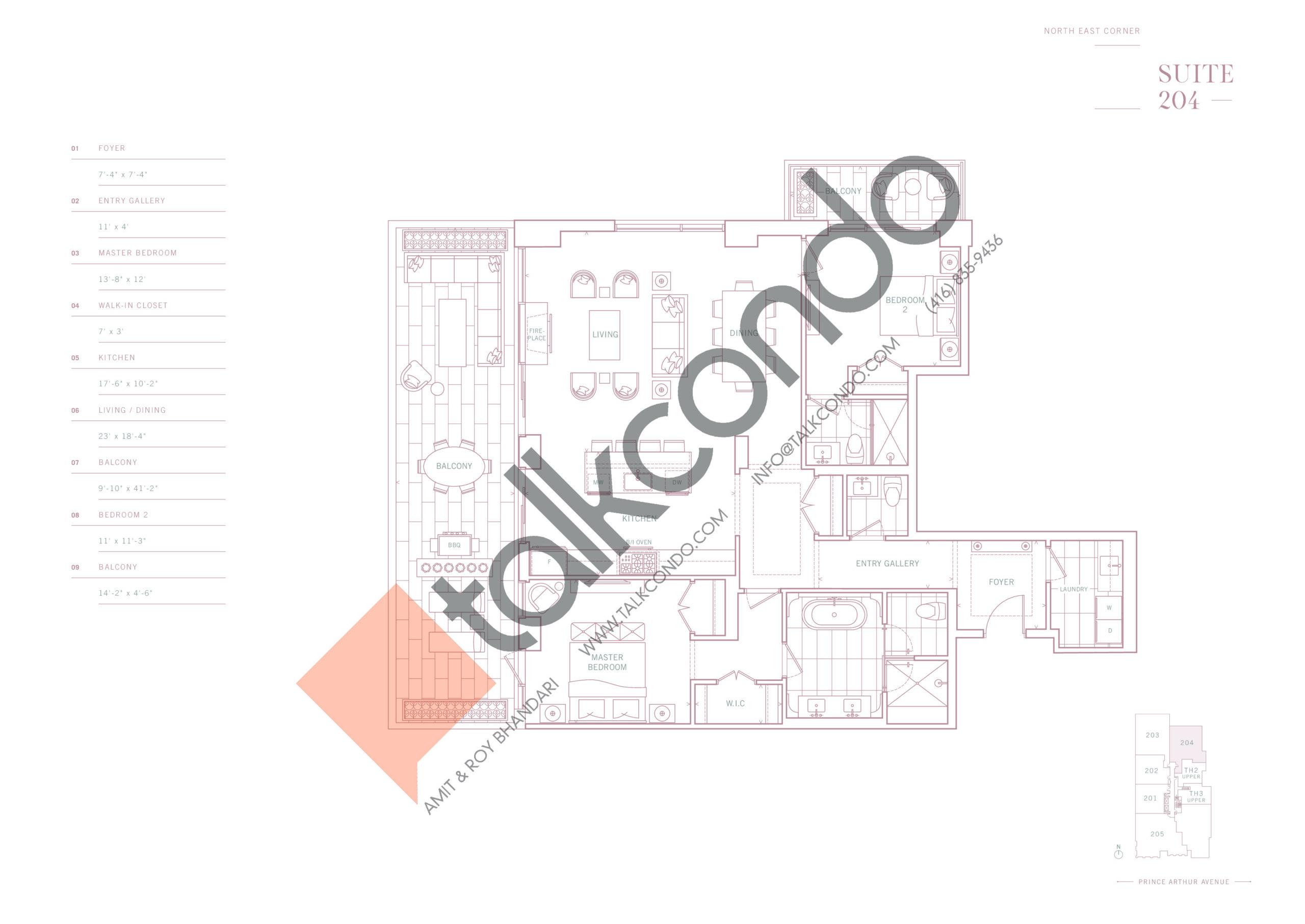 Suite 204 Floor Plan at 10 Prince Arthur Condos - 1646 sq.ft