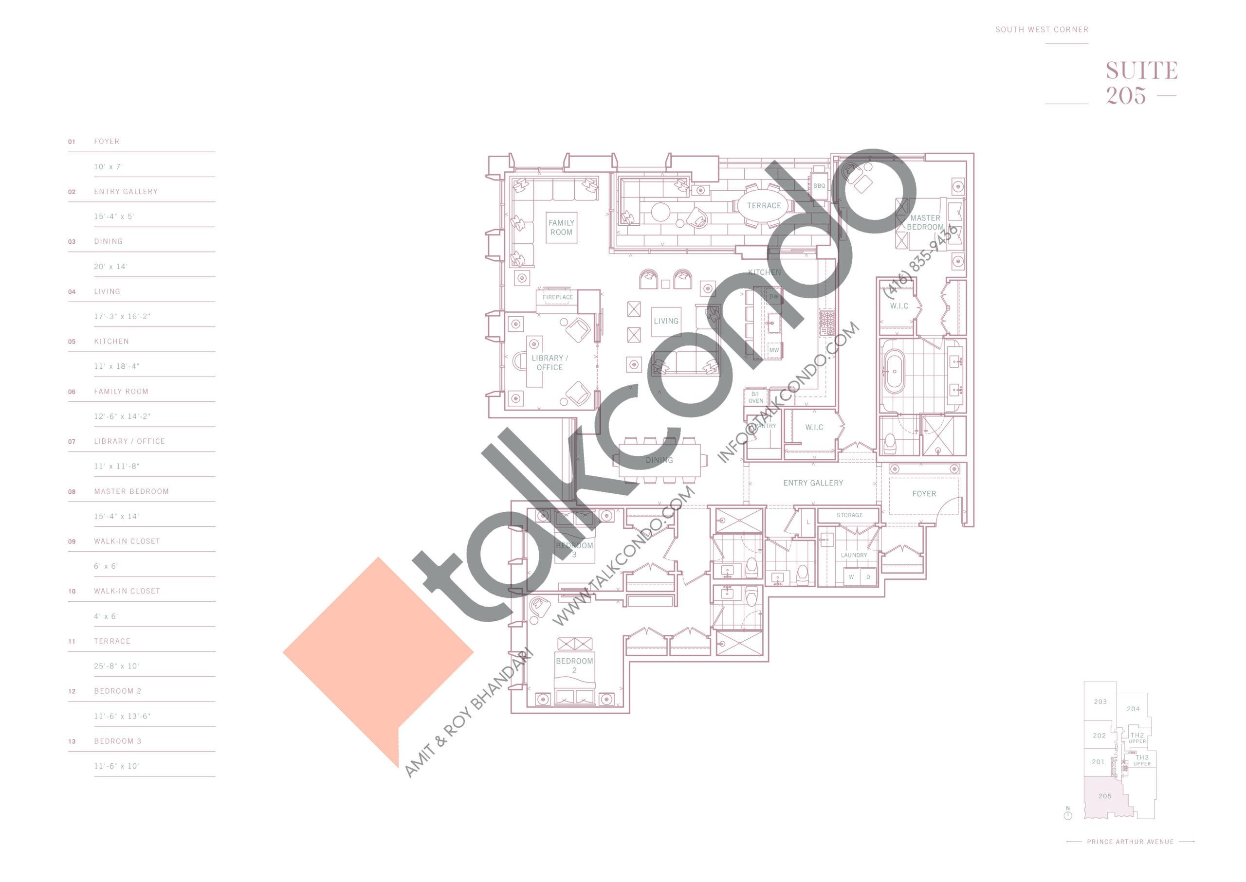 Suite 205 Floor Plan at 10 Prince Arthur Condos - 2886 sq.ft
