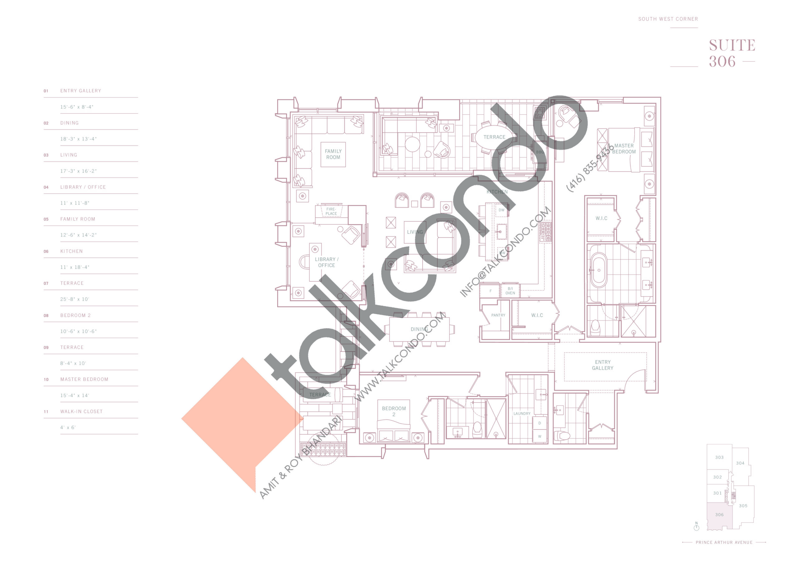 Suite 306 Floor Plan at 10 Prince Arthur Condos - 2486 sq.ft