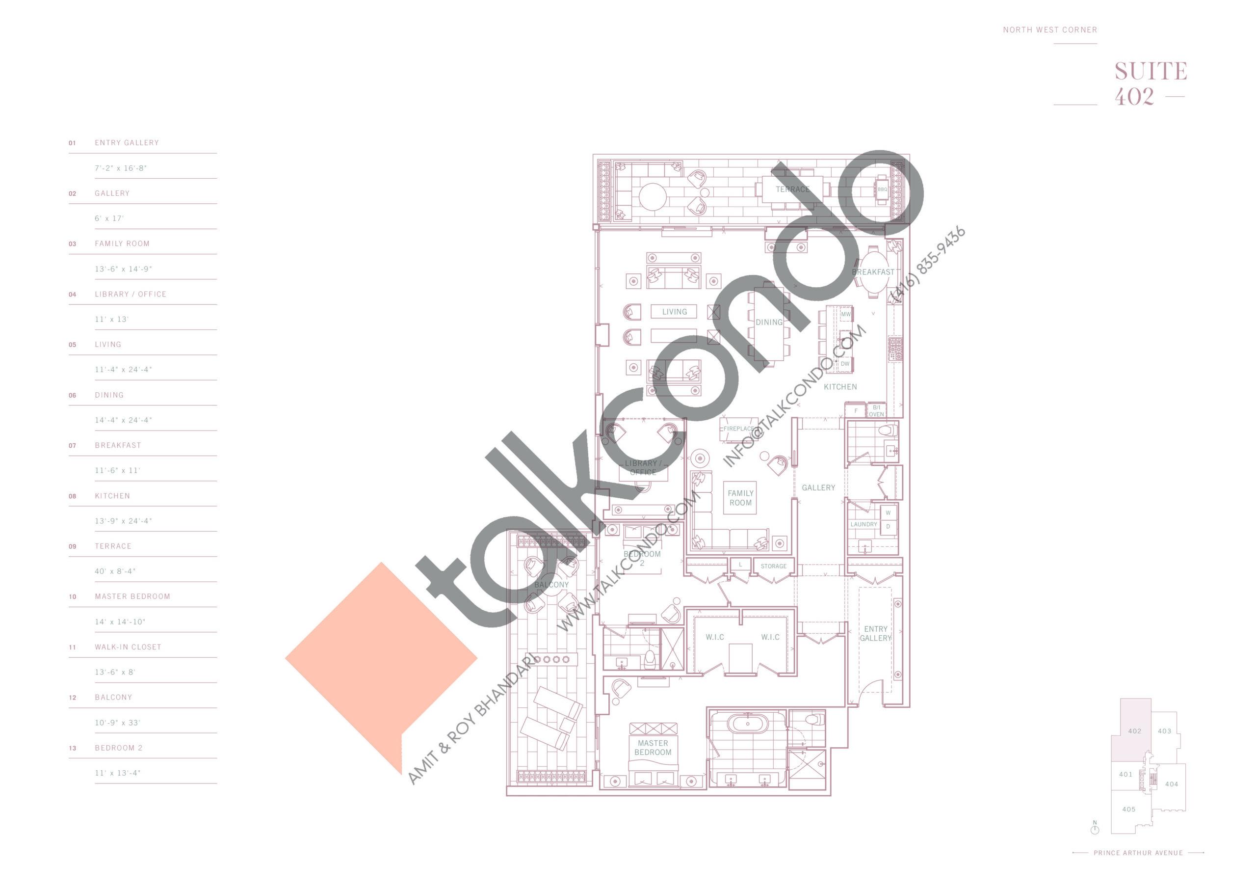 Suite 402 Floor Plan at 10 Prince Arthur Condos - 2942 sq.ft