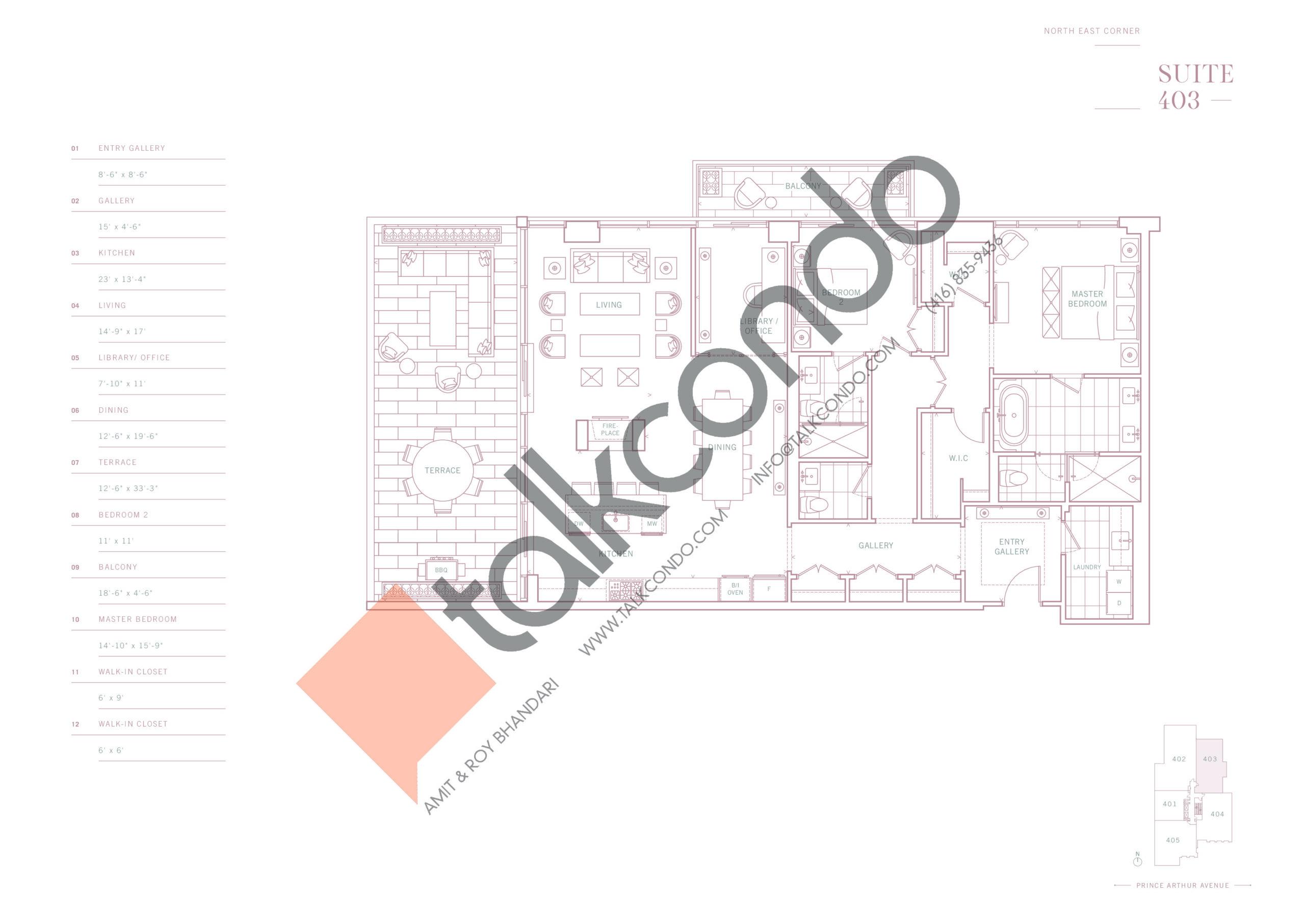 Suite 403 Floor Plan at 10 Prince Arthur Condos - 1926 sq.ft