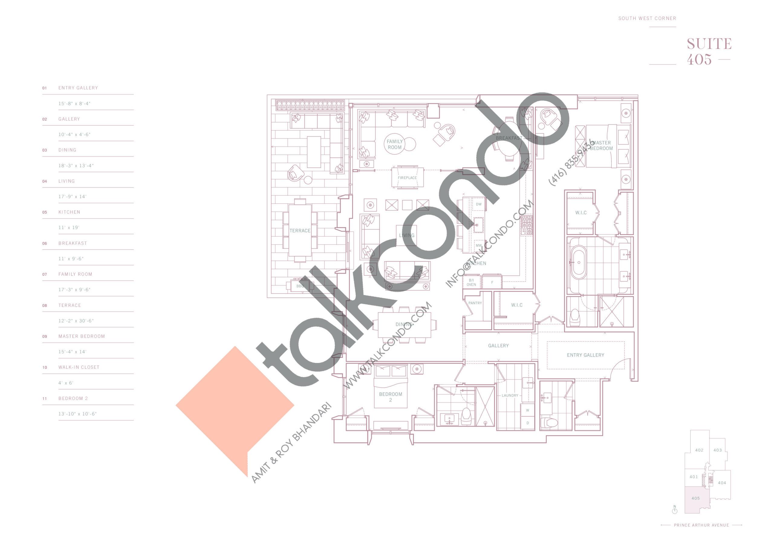Suite 405 Floor Plan at 10 Prince Arthur Condos - 2416 sq.ft