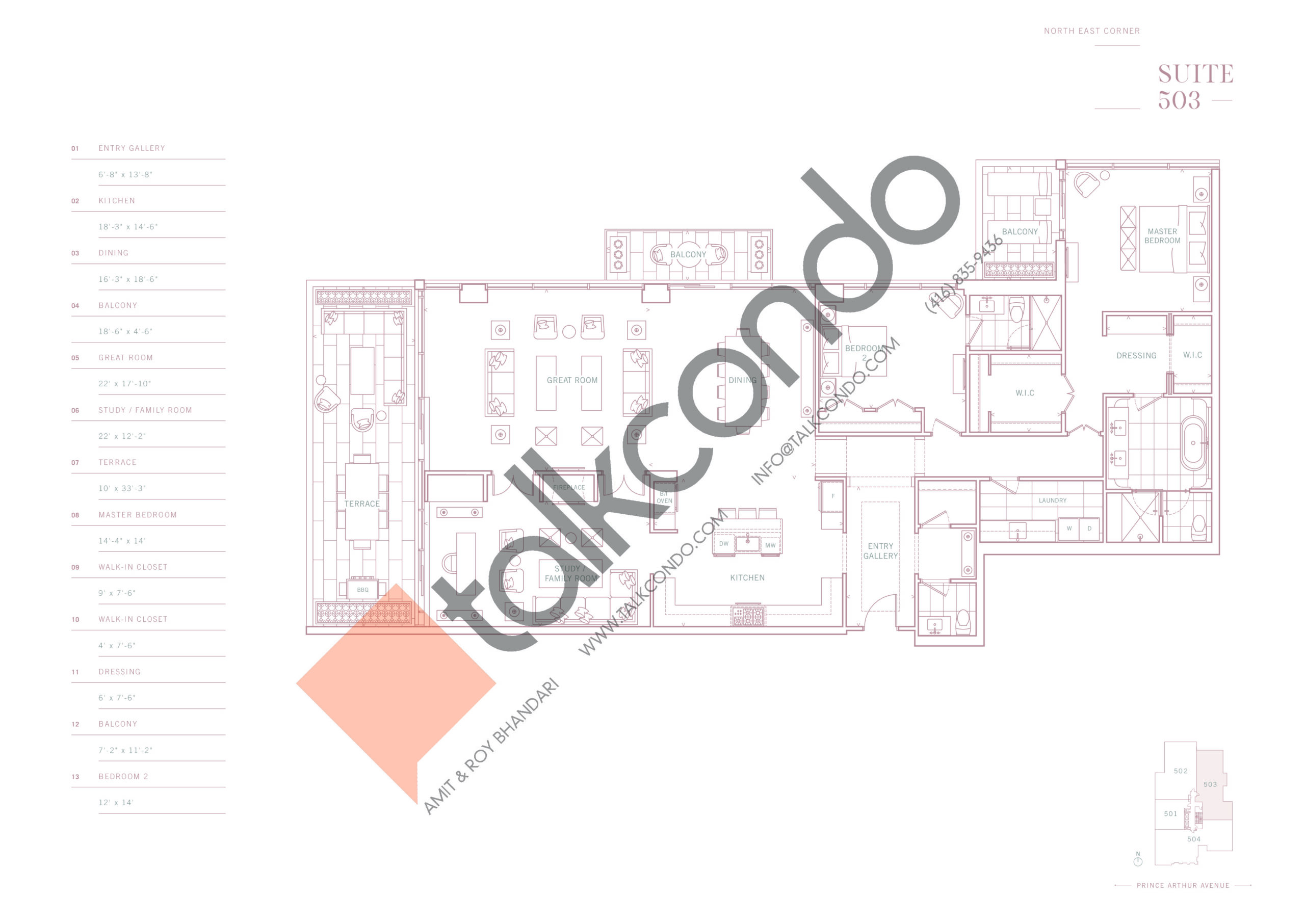 Suite 503 Floor Plan at 10 Prince Arthur Condos - 2735 sq.ft