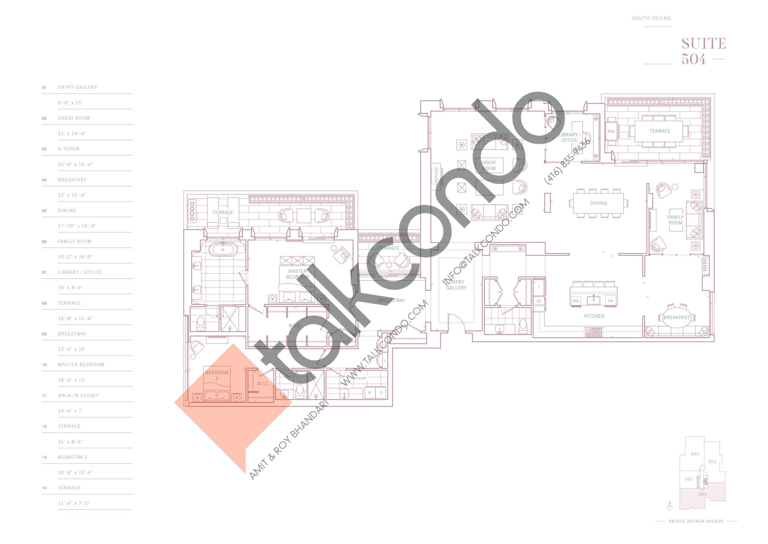 Suite 504 Floor Plan at 10 Prince Arthur Condos - 3405 sq.ft