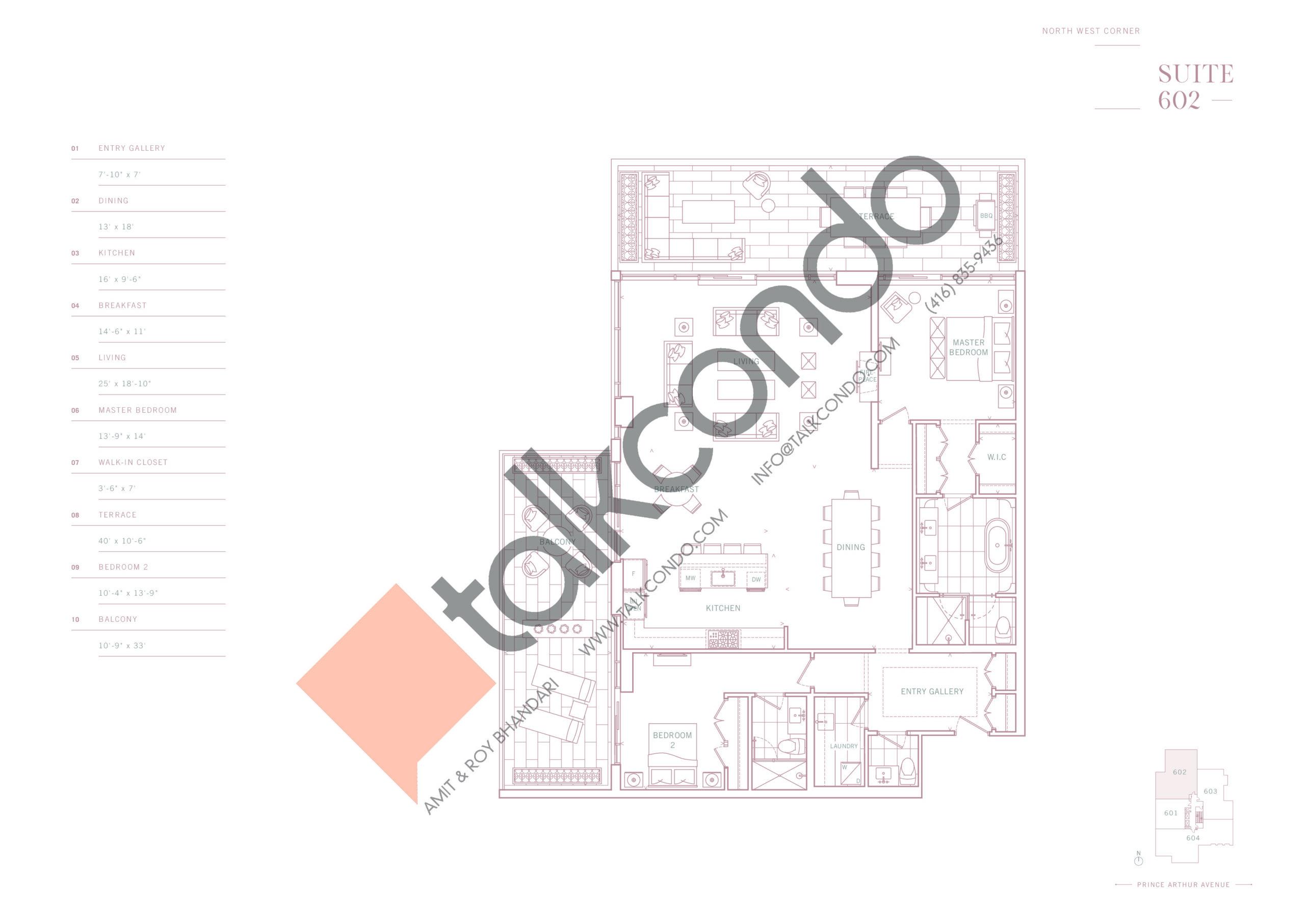 Suite 602 Floor Plan at 10 Prince Arthur Condos - 2089 sq.ft