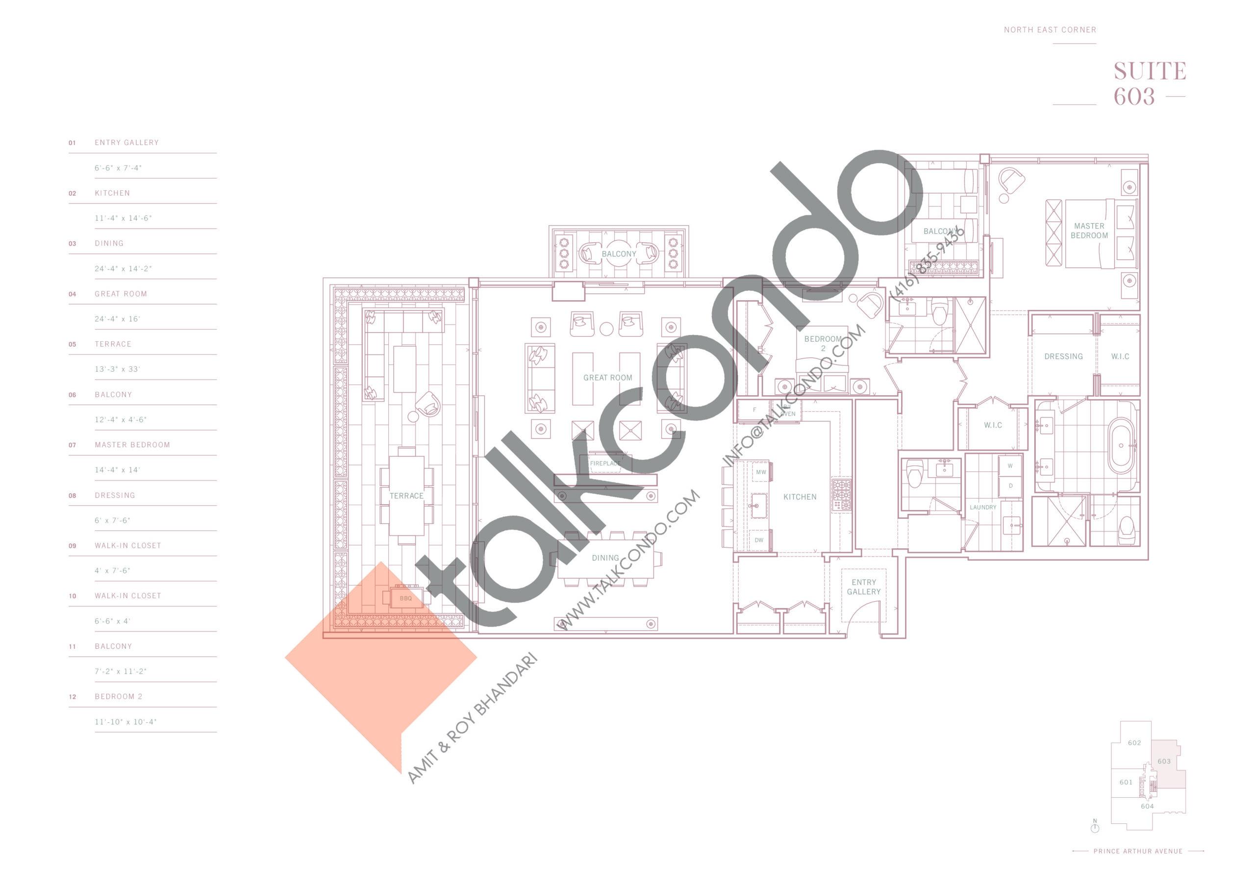 Suite 603 Floor Plan at 10 Prince Arthur Condos - 2237 sq.ft