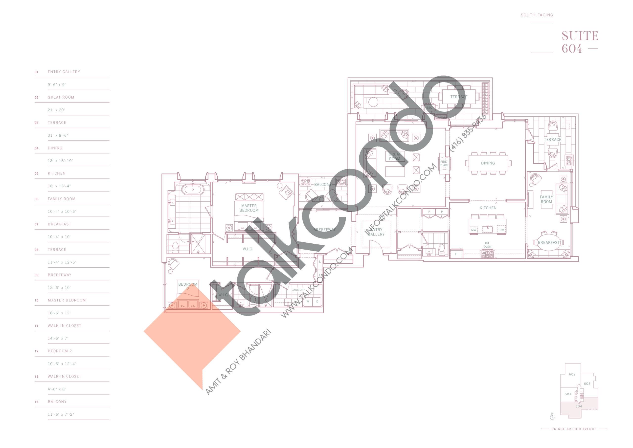 Suite 604 Floor Plan at 10 Prince Arthur Condos - 2928 sq.ft