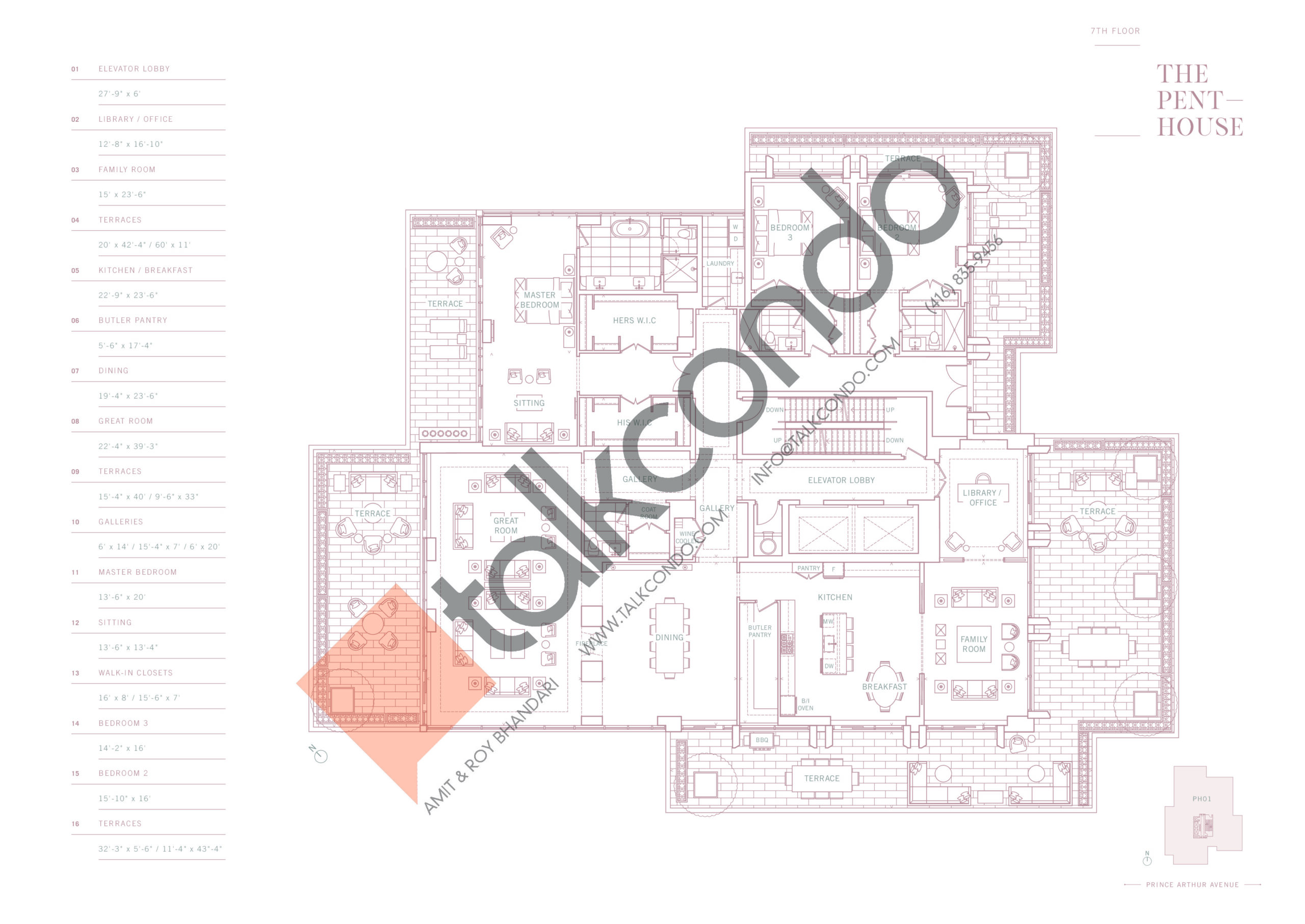The Penthouse Floor Plan at 10 Prince Arthur Condos - 5918 sq.ft