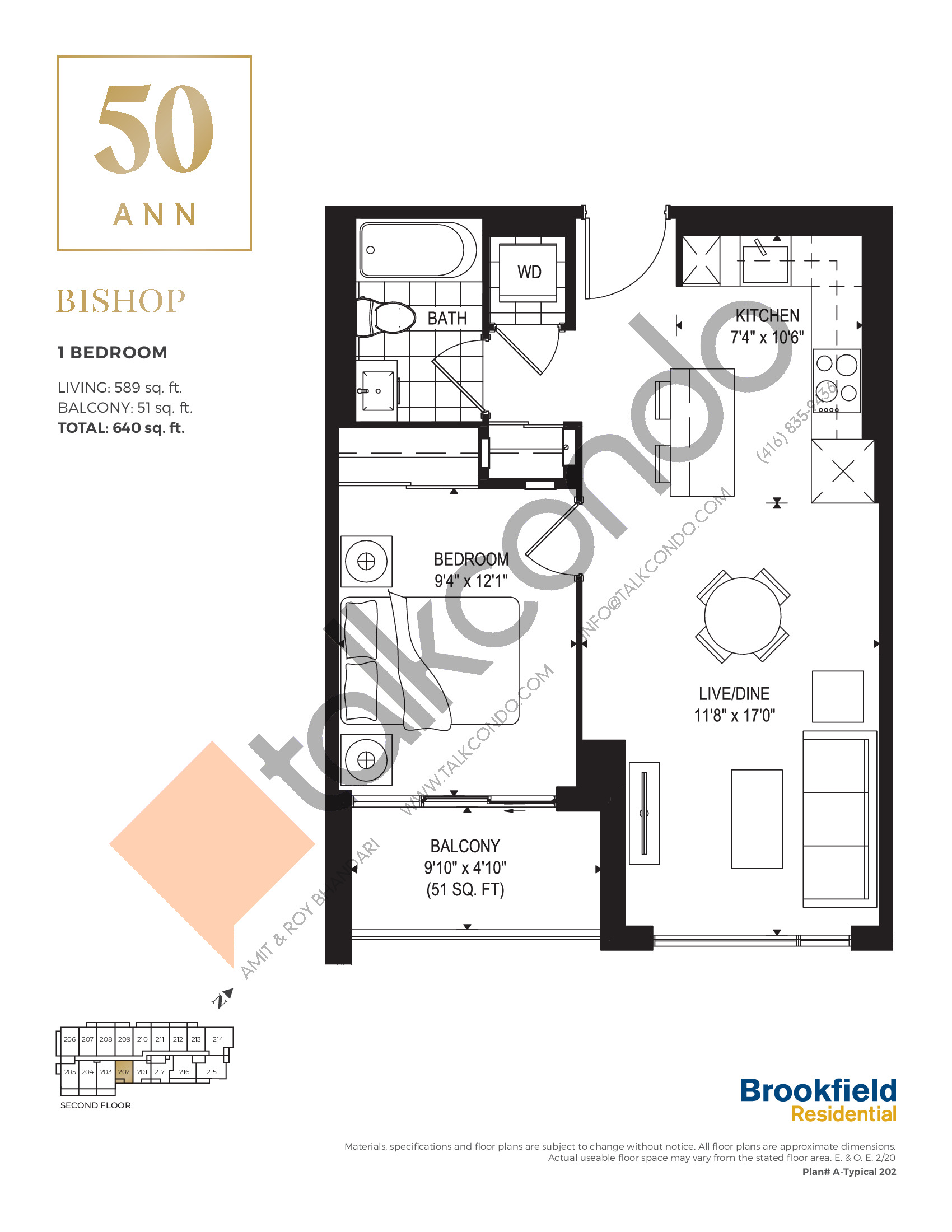 Bishop Floor Plan at 50 Ann Condos - 589 sq.ft