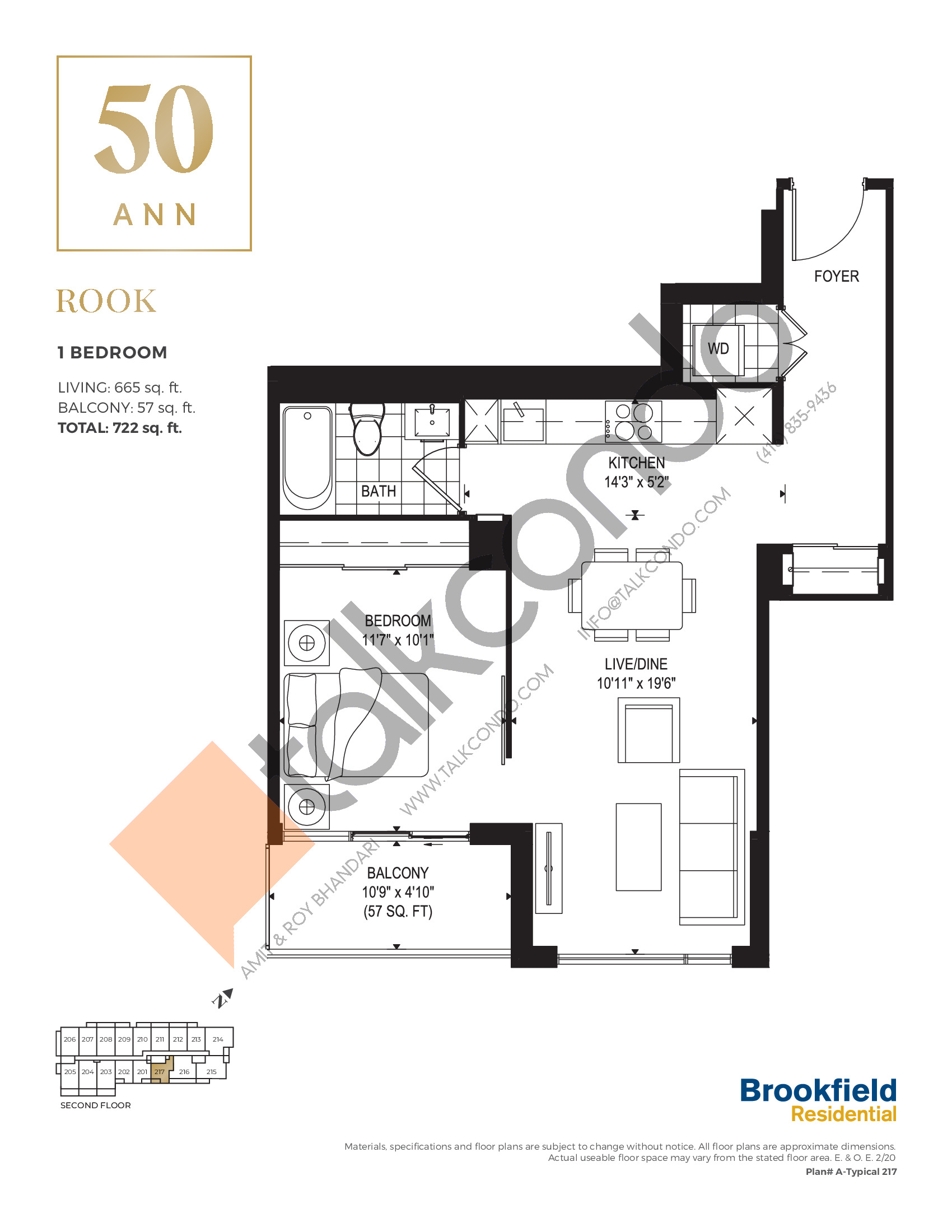 Rook Floor Plan at 50 Ann Condos - 665 sq.ft