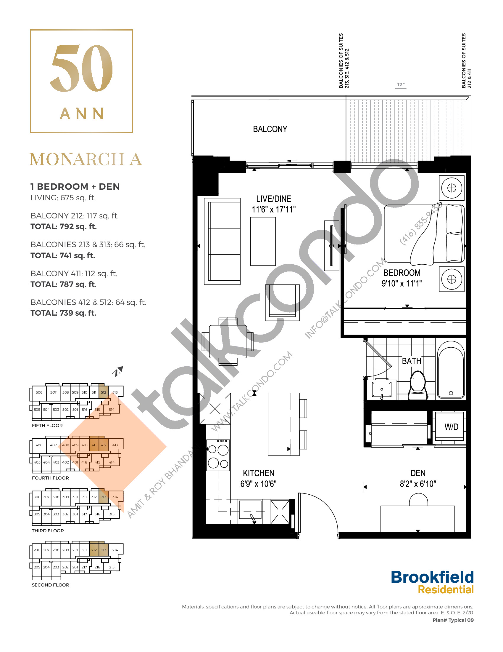 Monarch A Floor Plan at 50 Ann Condos - 675 sq.ft