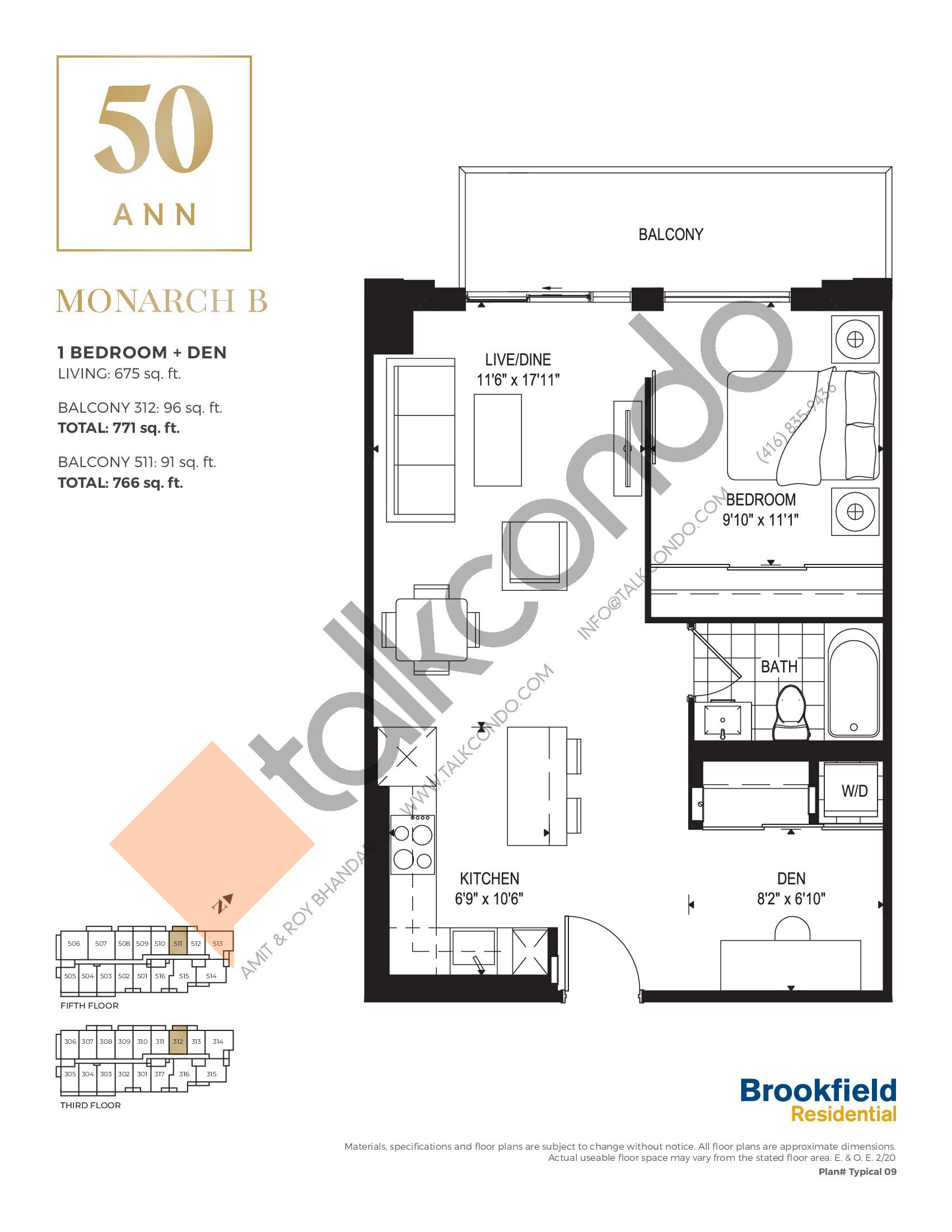 Monarch B Floor Plan at 50 Ann Condos - 675 sq.ft