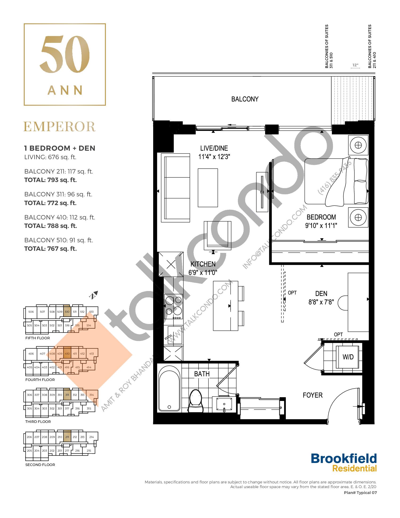 Emperor Floor Plan at 50 Ann Condos - 676 sq.ft