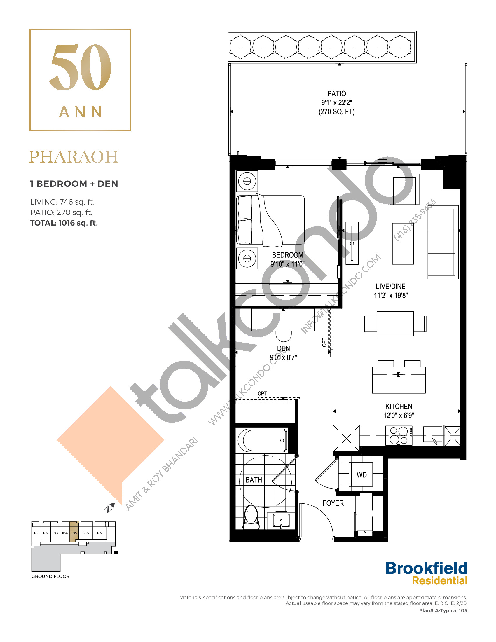 Pharaoh Floor Plan at 50 Ann Condos - 746 sq.ft
