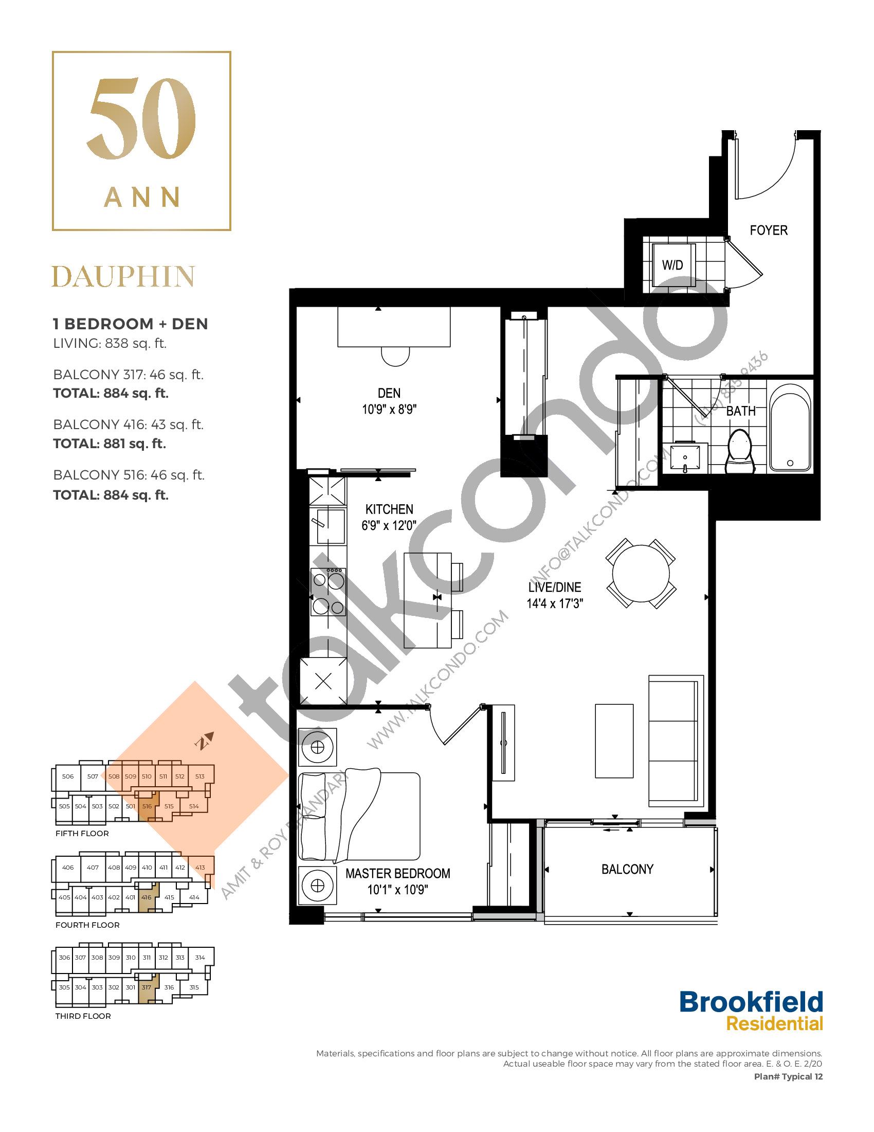 Dauphin Floor Plan at 50 Ann Condos - 838 sq.ft