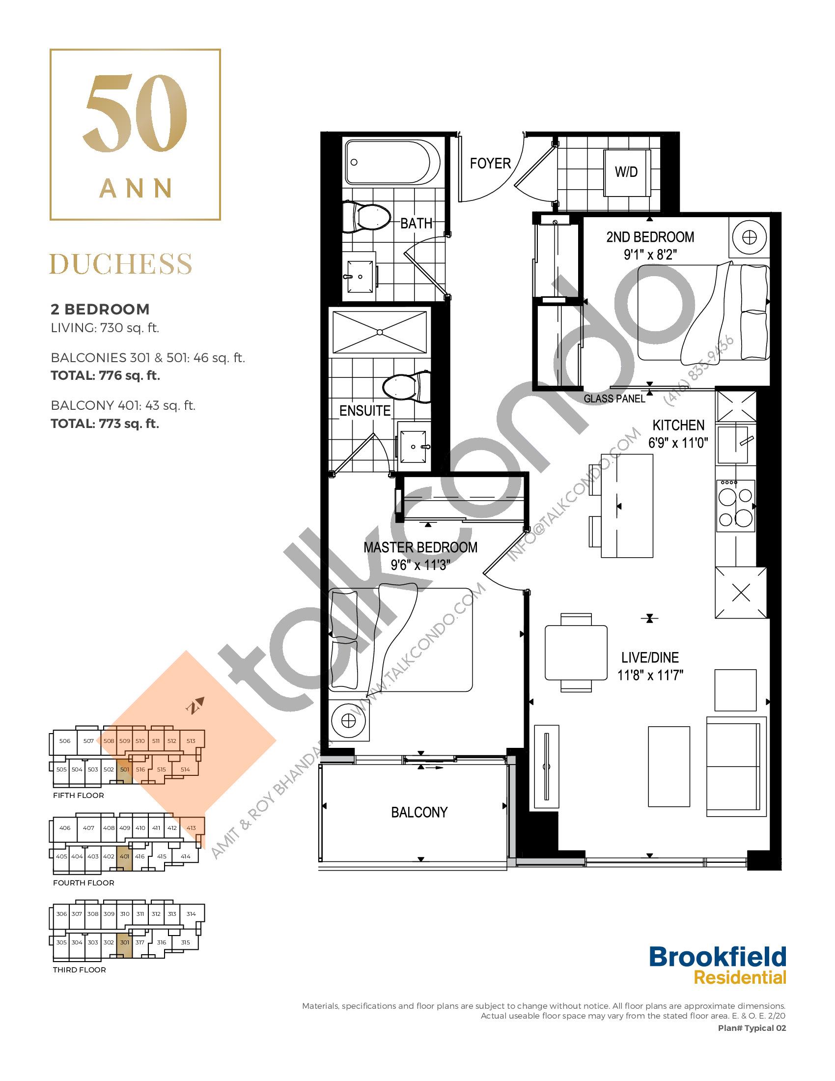 Duchess Floor Plan at 50 Ann Condos - 730 sq.ft