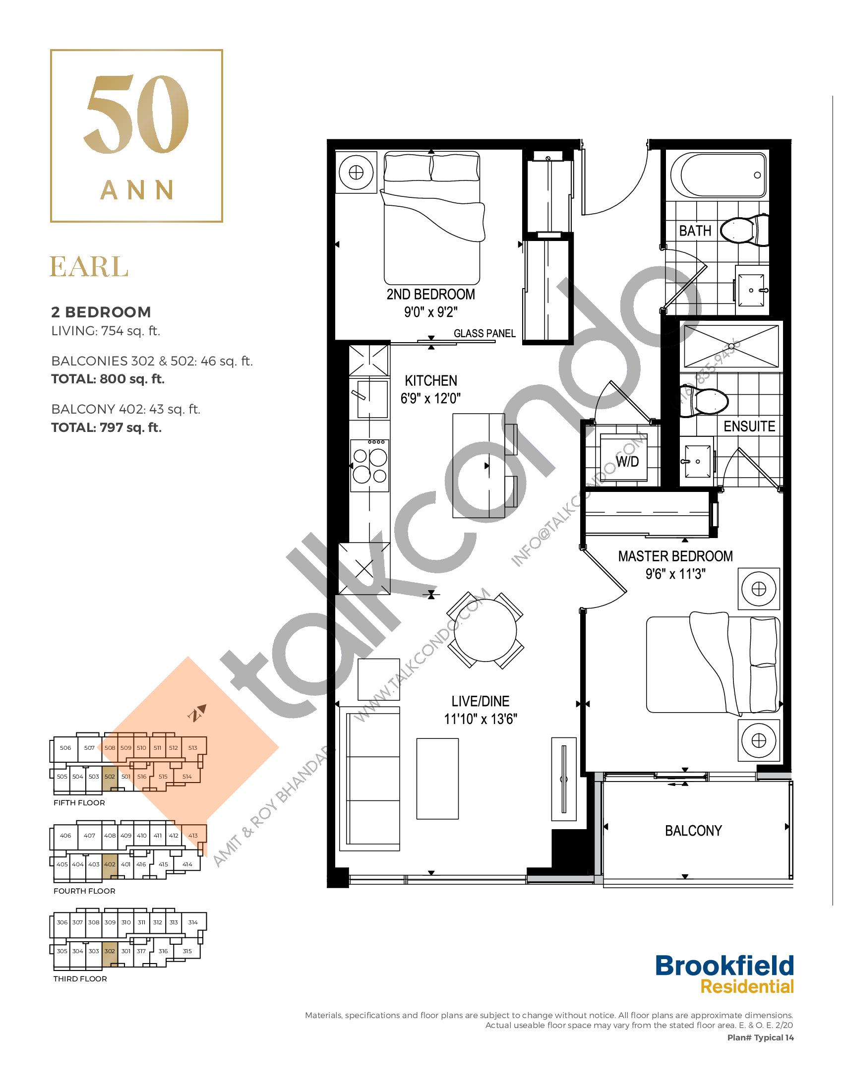 Earl Floor Plan at 50 Ann Condos - 754 sq.ft