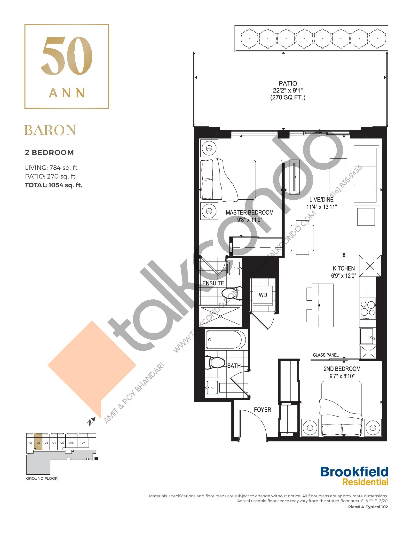 Baron Floor Plan at 50 Ann Condos - 784 sq.ft