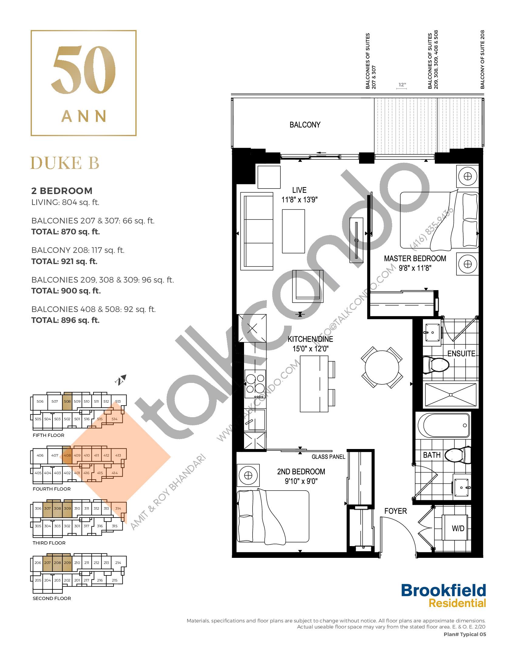 Duke B Floor Plan at 50 Ann Condos - 804 sq.ft