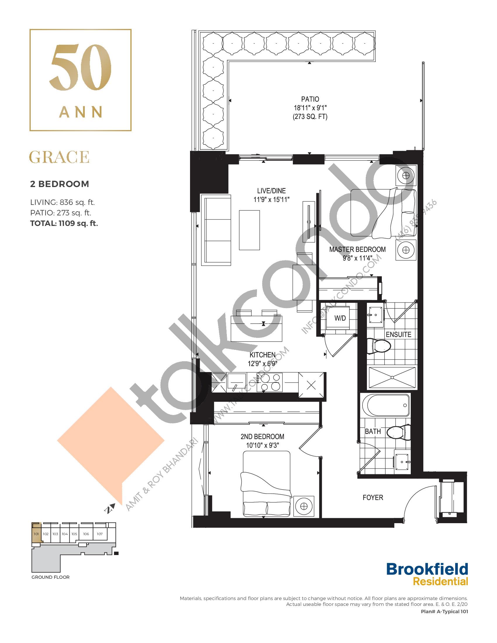 Grace Floor Plan at 50 Ann Condos - 836 sq.ft