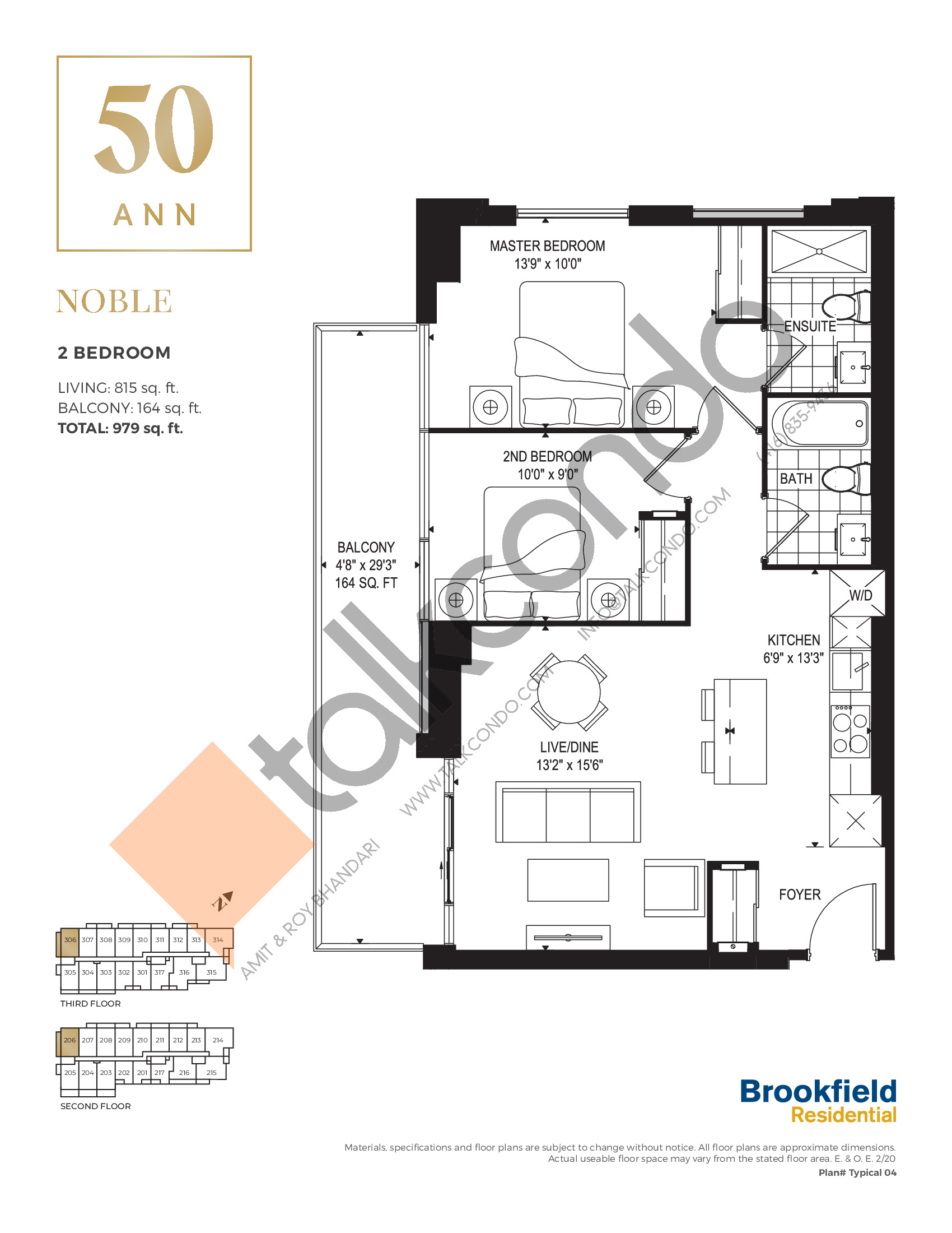 Noble Floor Plan at 50 Ann Condos - 815 sq.ft