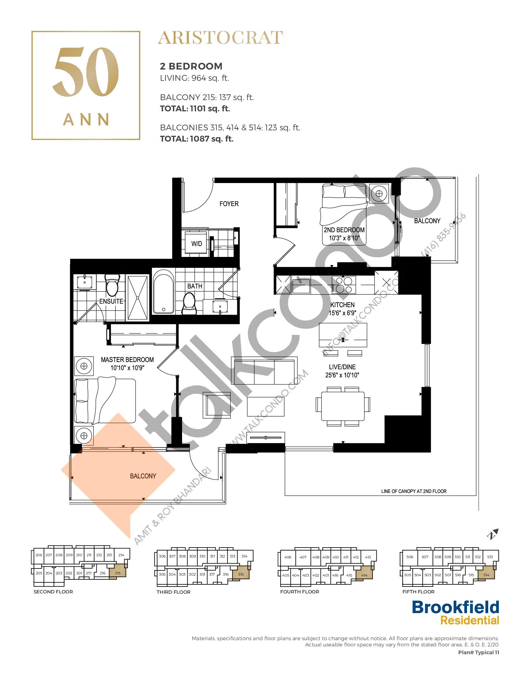 Aristocrat Floor Plan at 50 Ann Condos - 964 sq.ft