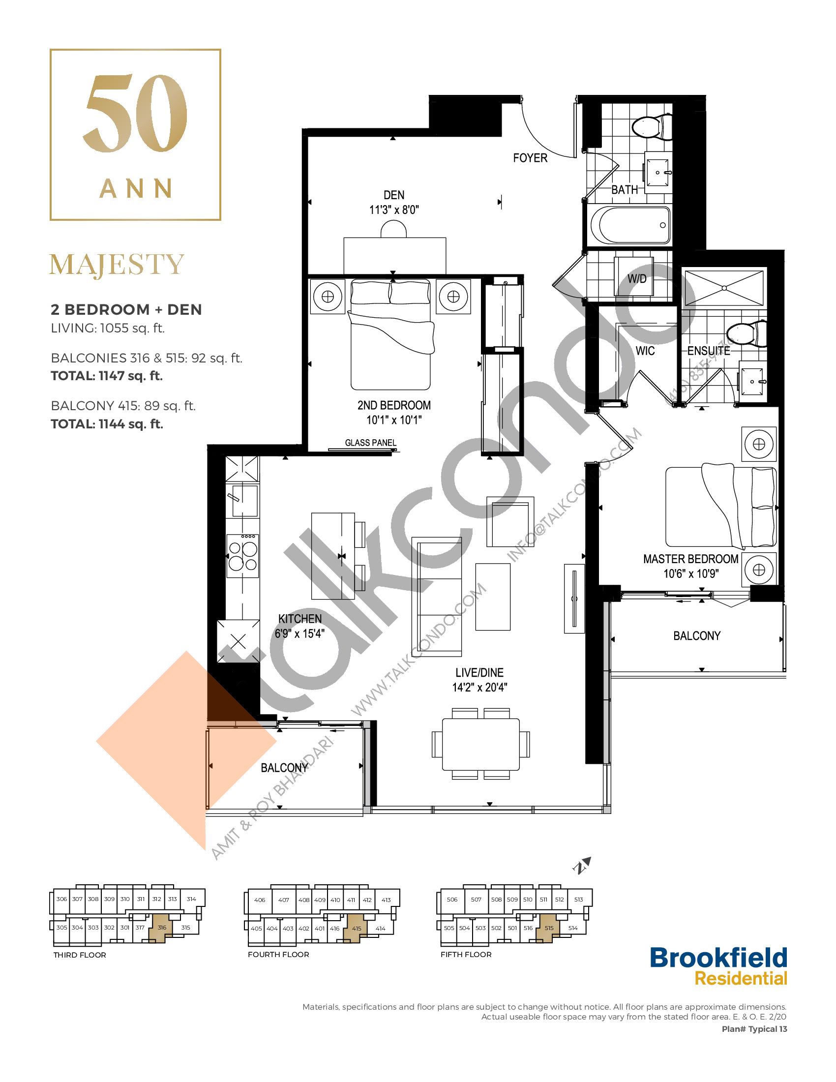 Majesty Floor Plan at 50 Ann Condos - 1055 sq.ft