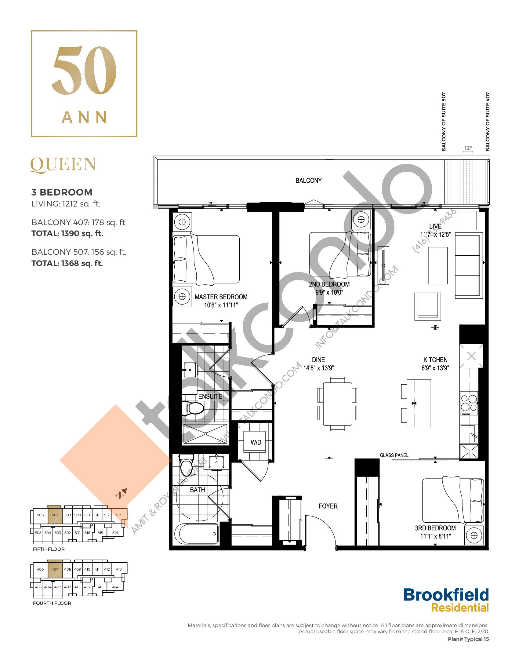 Queen Floor Plan at 50 Ann Condos - 1212 sq.ft