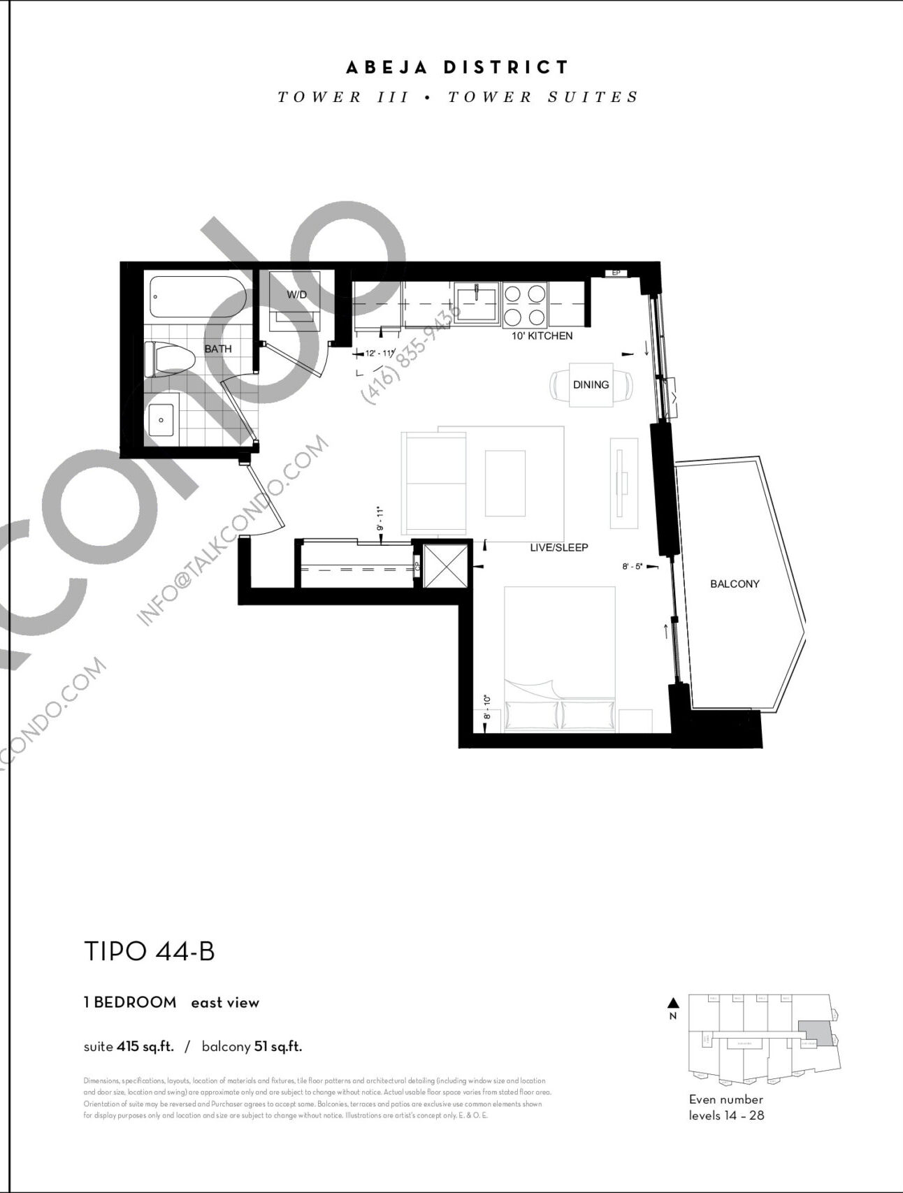 TIPO 44-B Floor Plan at Abeja District Condos Tower 3 - 415 sq.ft