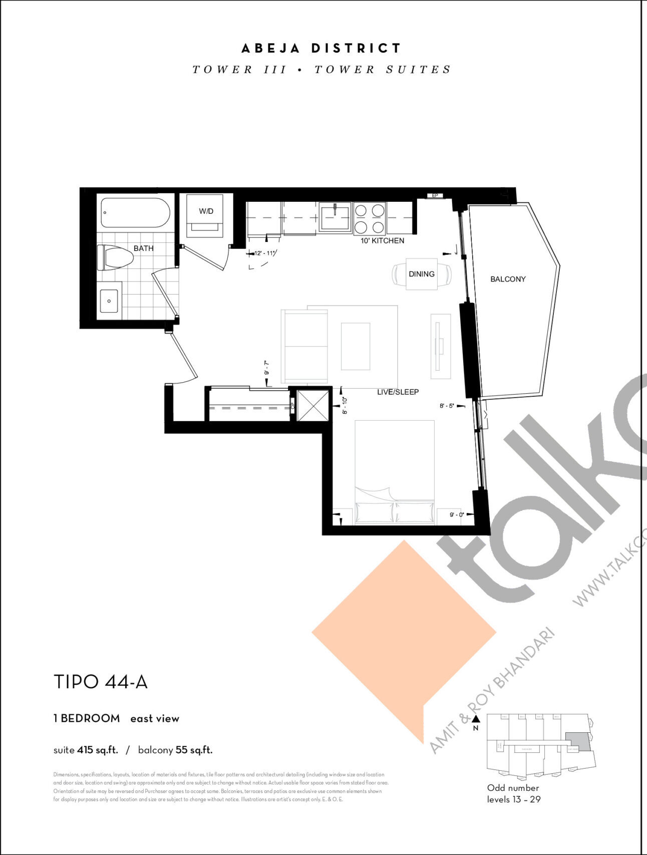 TIPO 44-A Floor Plan at Abeja District Condos Tower 3 - 415 sq.ft