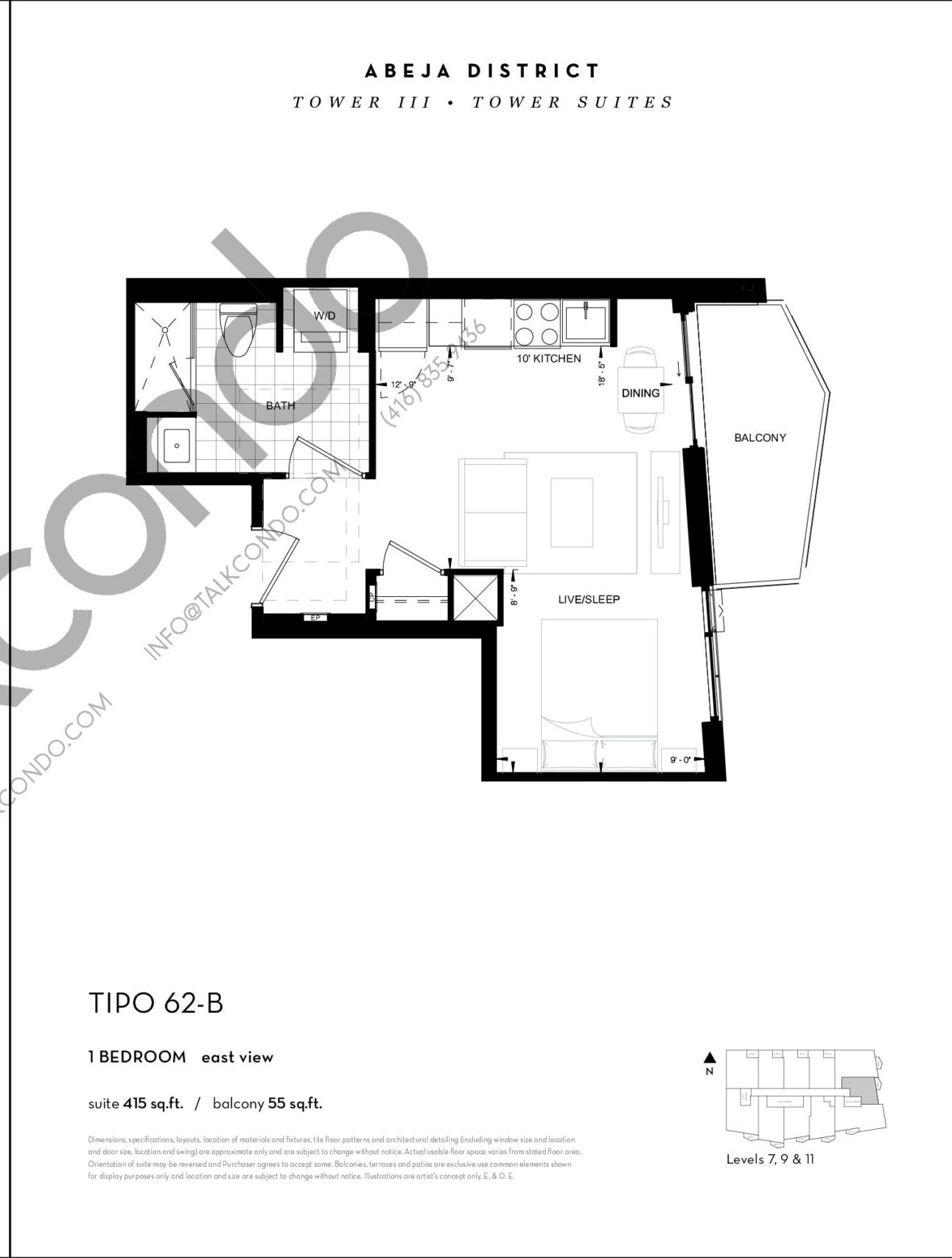 TIPO 62-B Floor Plan at Abeja District Condos Tower 3 - 415 sq.ft