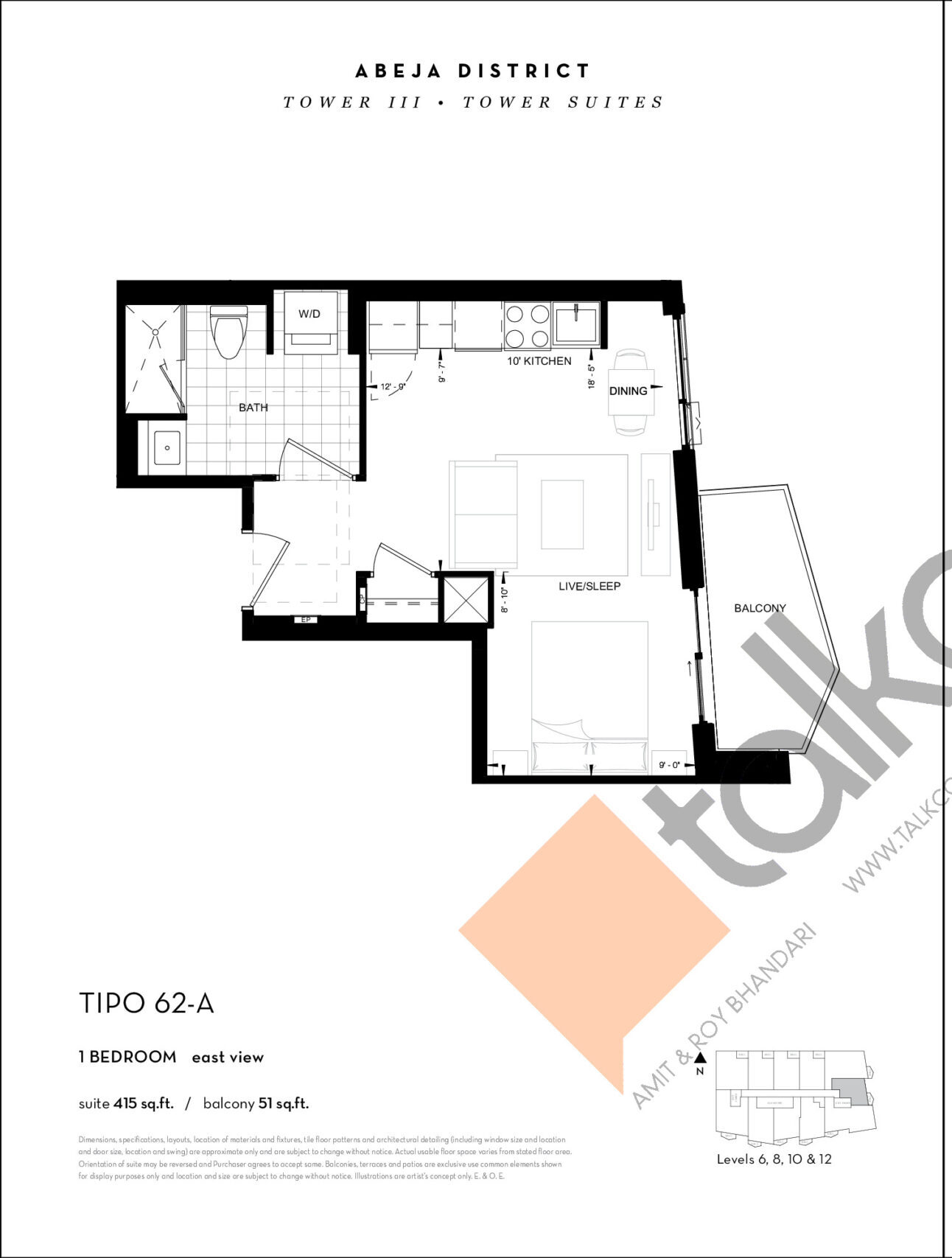 TIPO 62-A Floor Plan at Abeja District Condos Tower 3 - 415 sq.ft