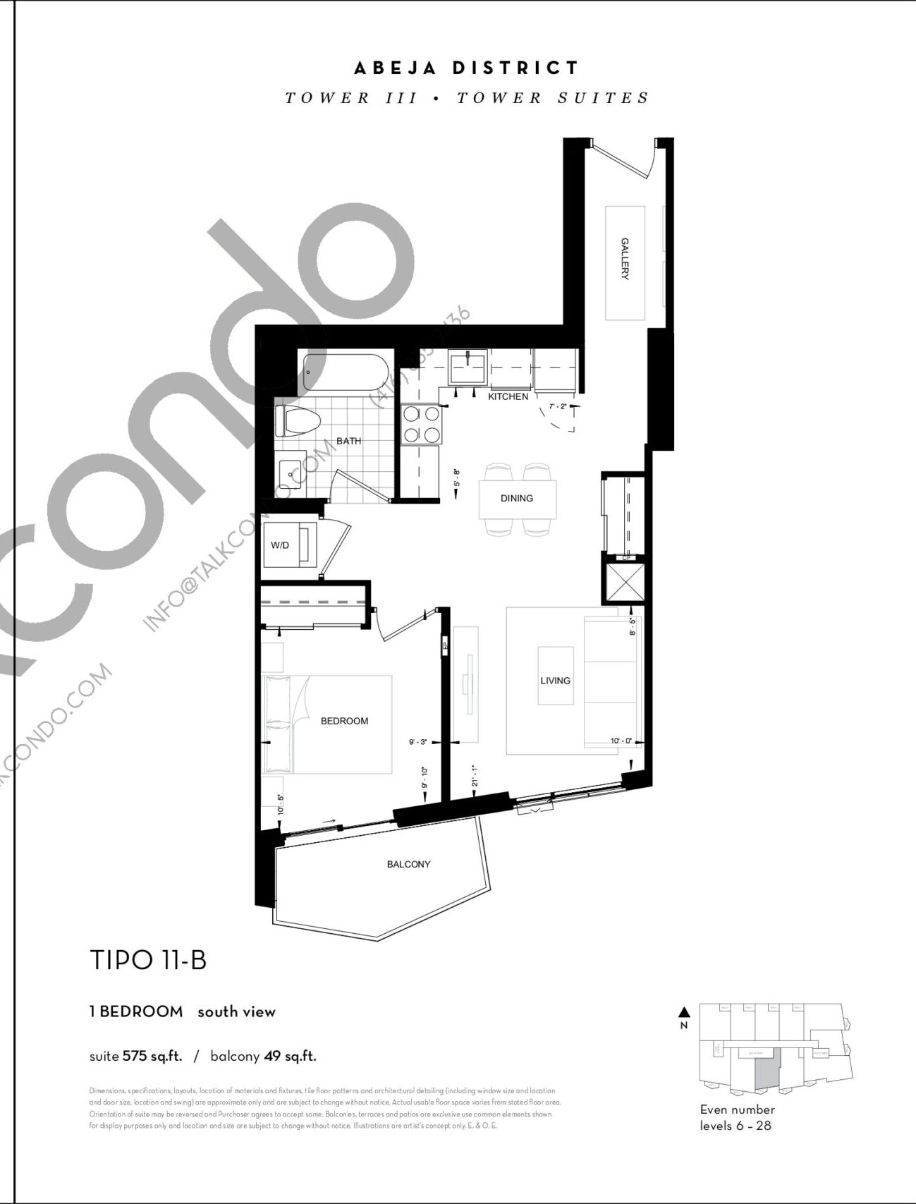 TIPO 11-B Floor Plan at Abeja District Condos Tower 3 - 575 sq.ft