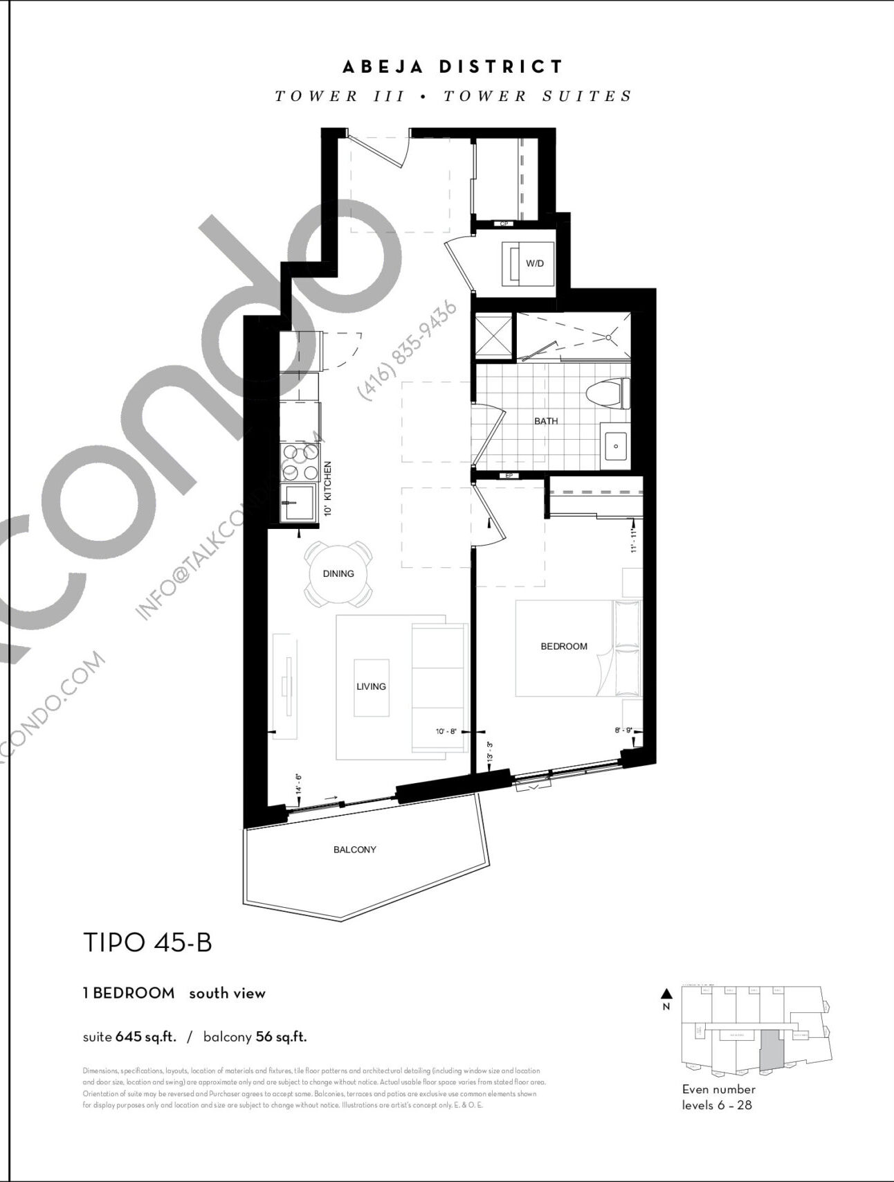 TIPO 45-B Floor Plan at Abeja District Condos Tower 3 - 645 sq.ft