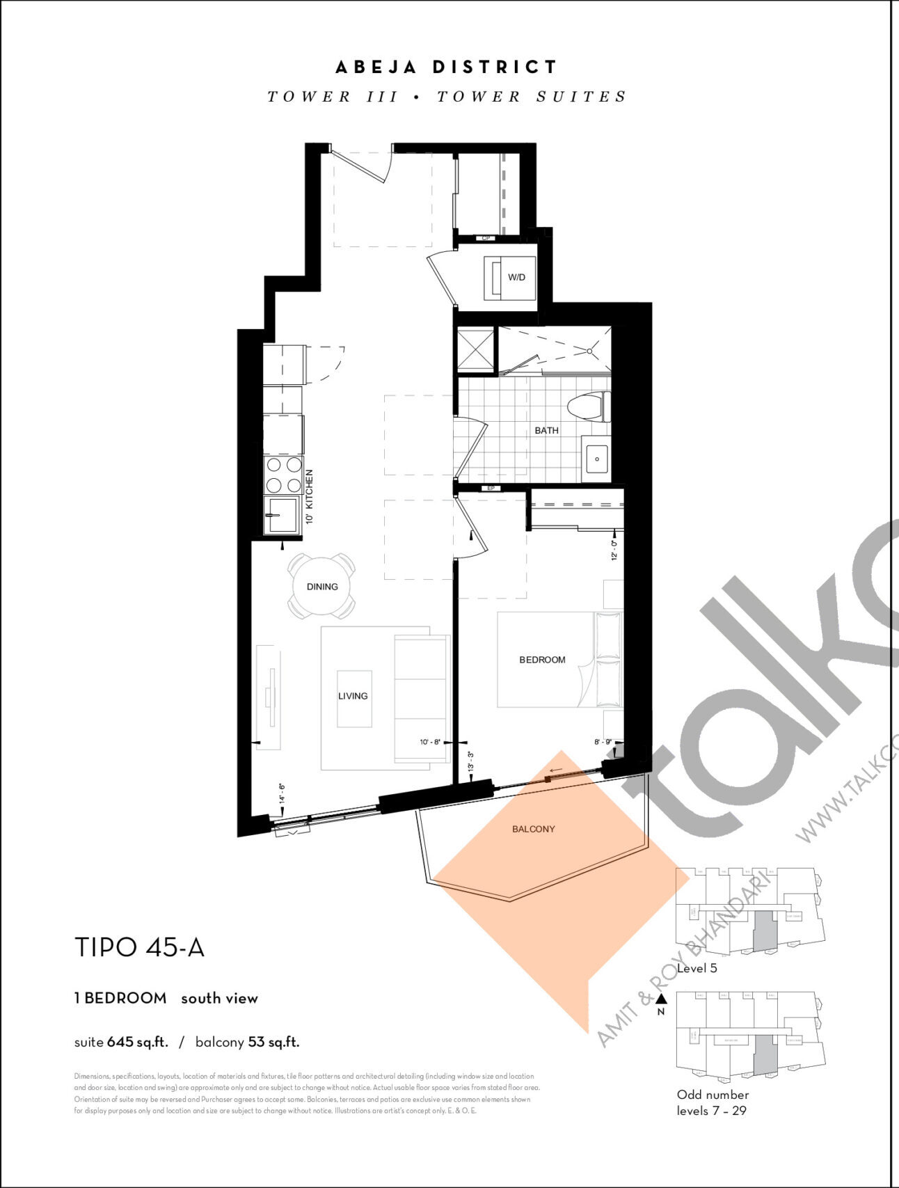 TIPO 45-A Floor Plan at Abeja District Condos Tower 3 - 645 sq.ft