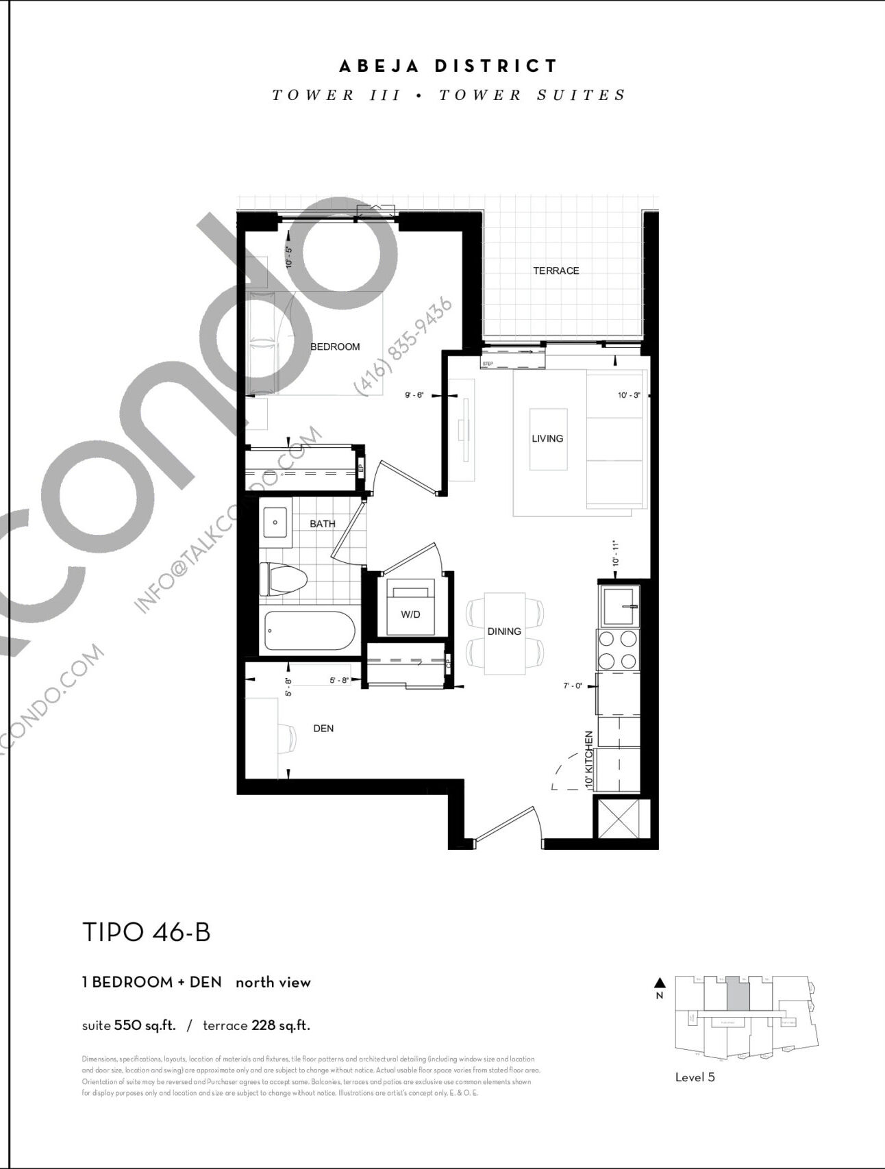 TIPO 46-B Floor Plan at Abeja District Condos Tower 3 - 550 sq.ft