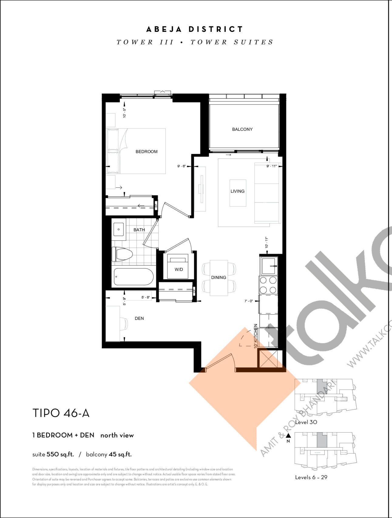 TIPO 46-A Floor Plan at Abeja District Condos Tower 3 - 550 sq.ft