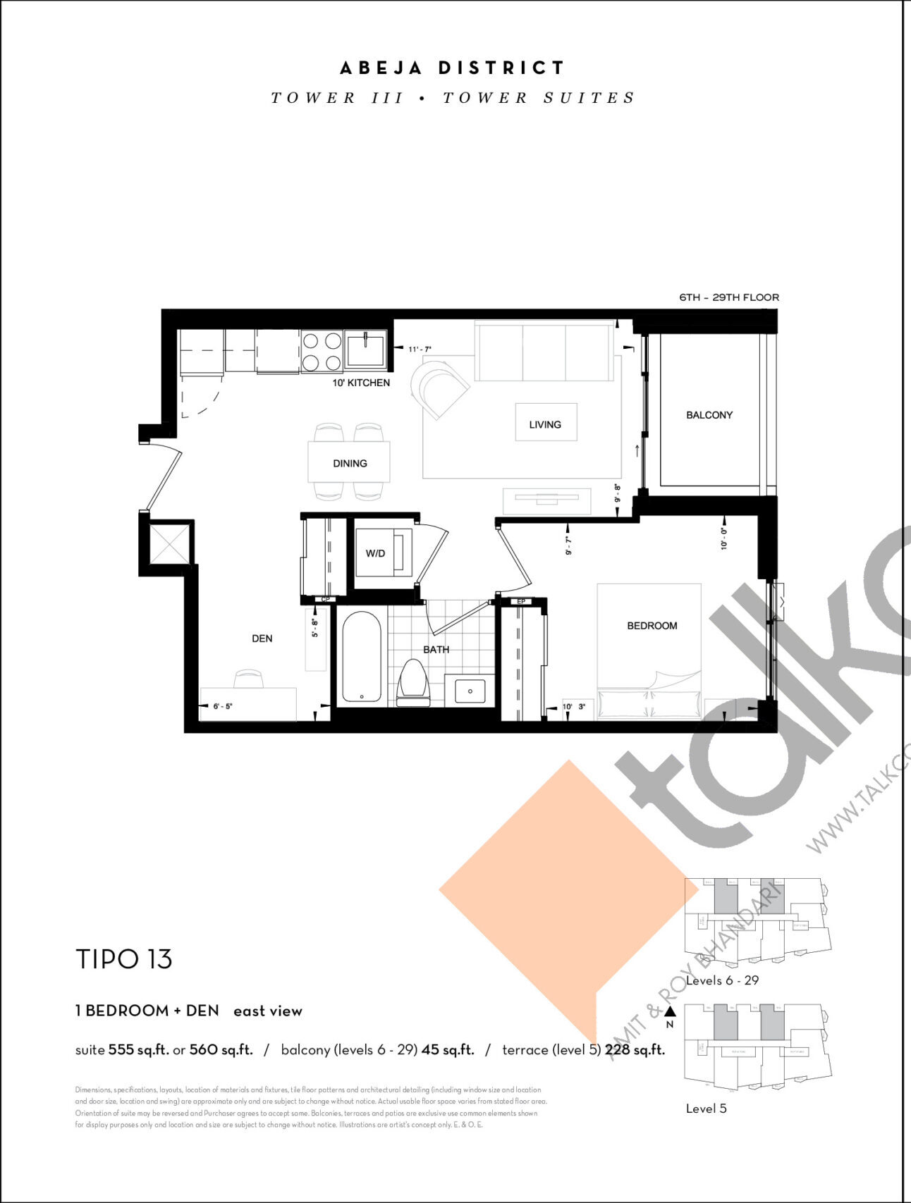 TIPO 13 Floor Plan at Abeja District Condos Tower 3 - 560 sq.ft