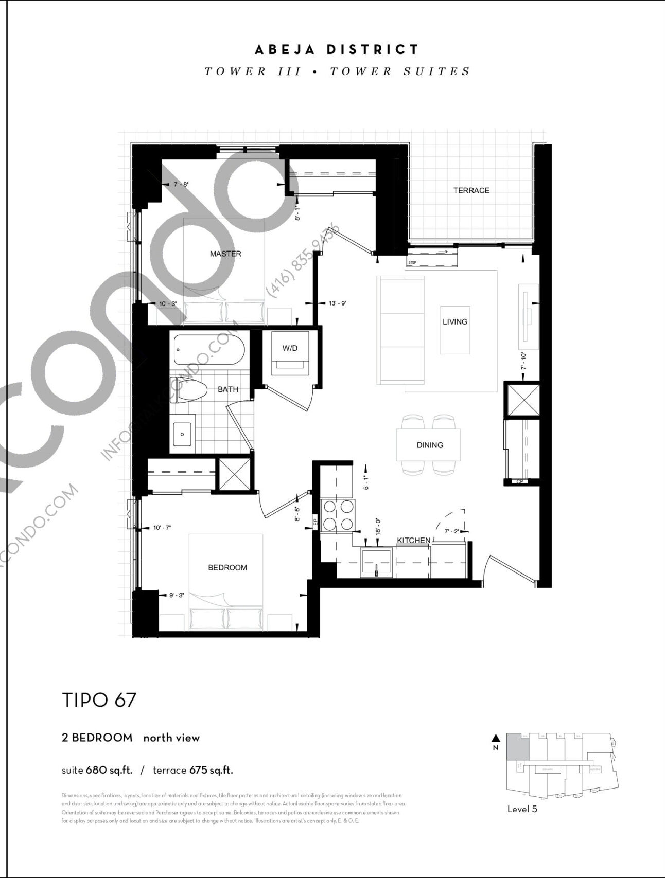 TIPO 67 Floor Plan at Abeja District Condos Tower 3 - 680 sq.ft