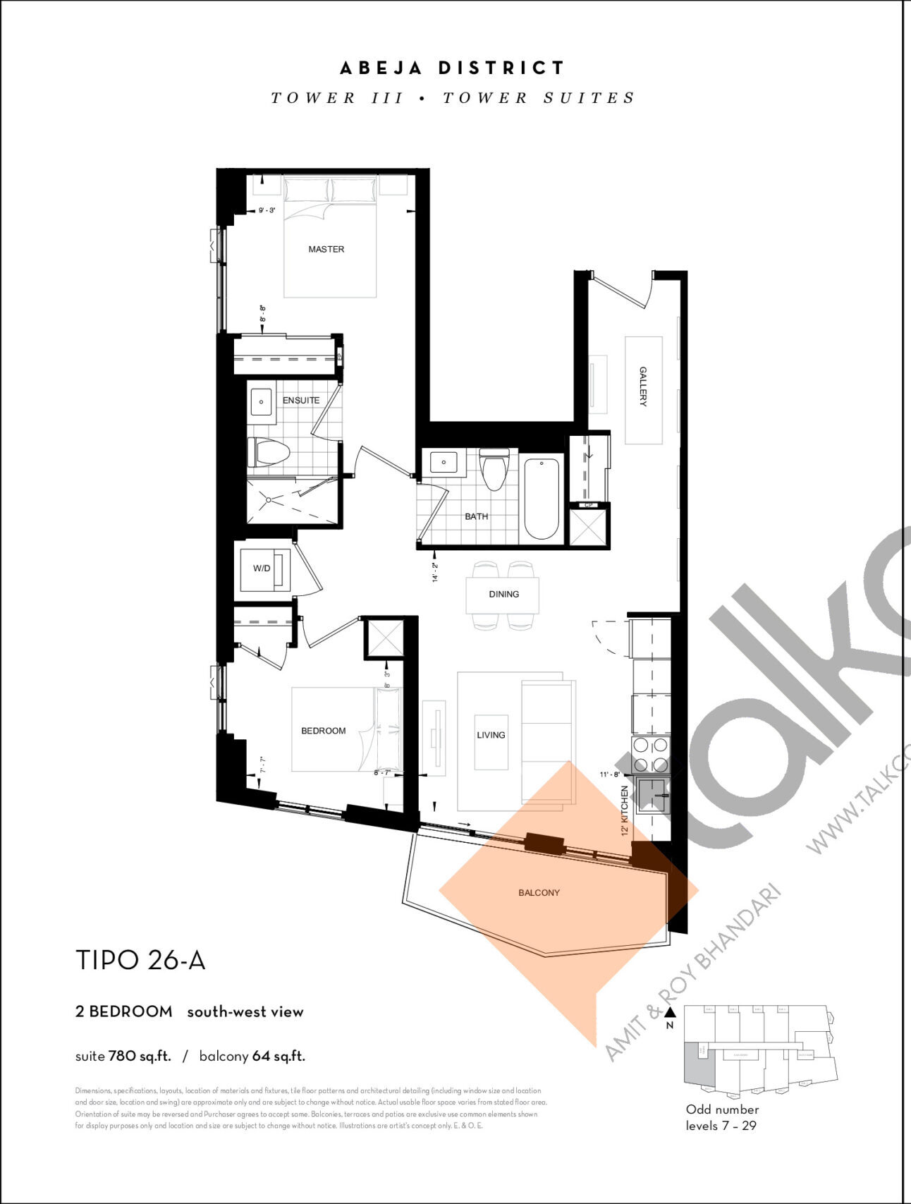 TIPO 26-A Floor Plan at Abeja District Condos Tower 3 - 780 sq.ft