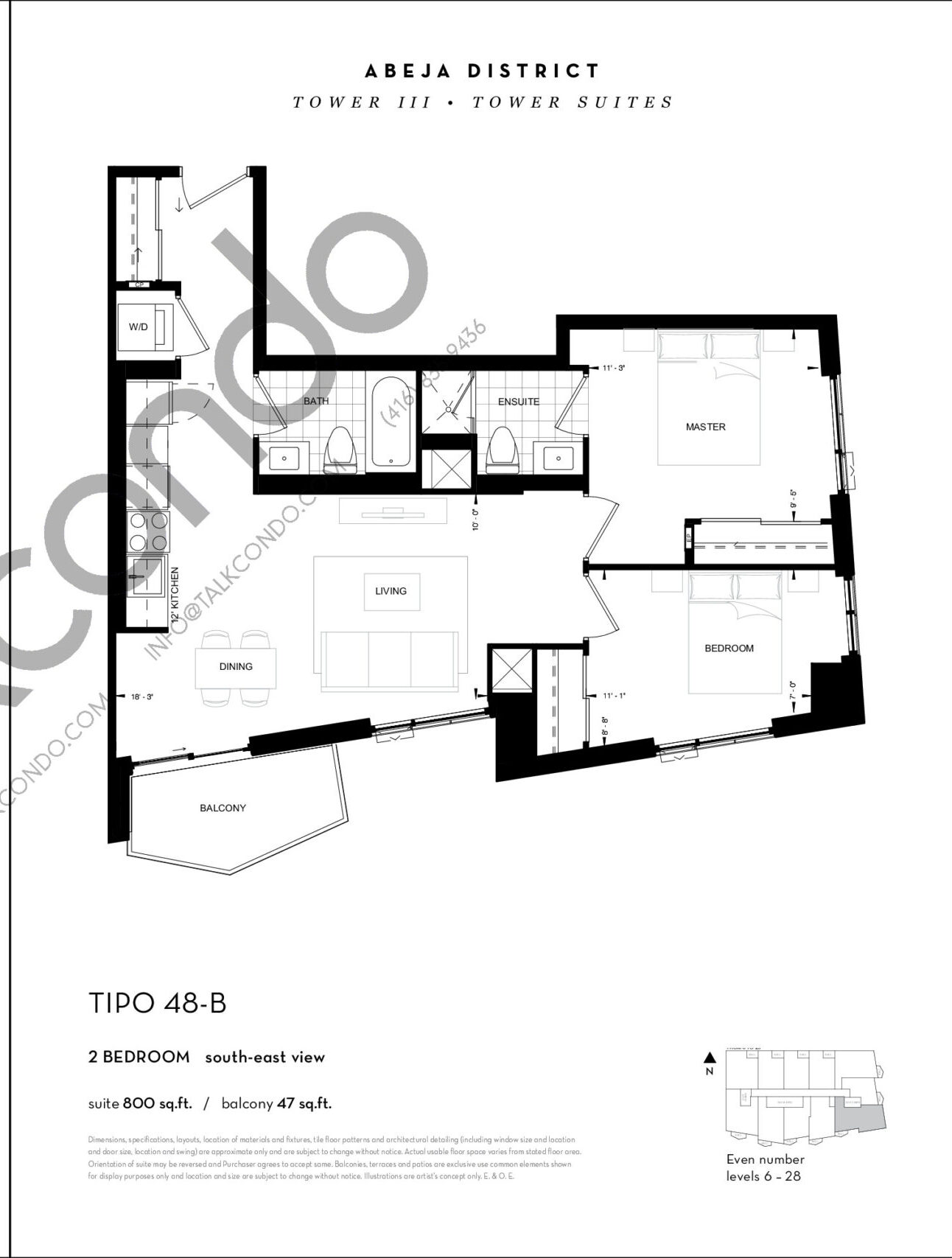 TIPO 48-B Floor Plan at Abeja District Condos Tower 3 - 800 sq.ft