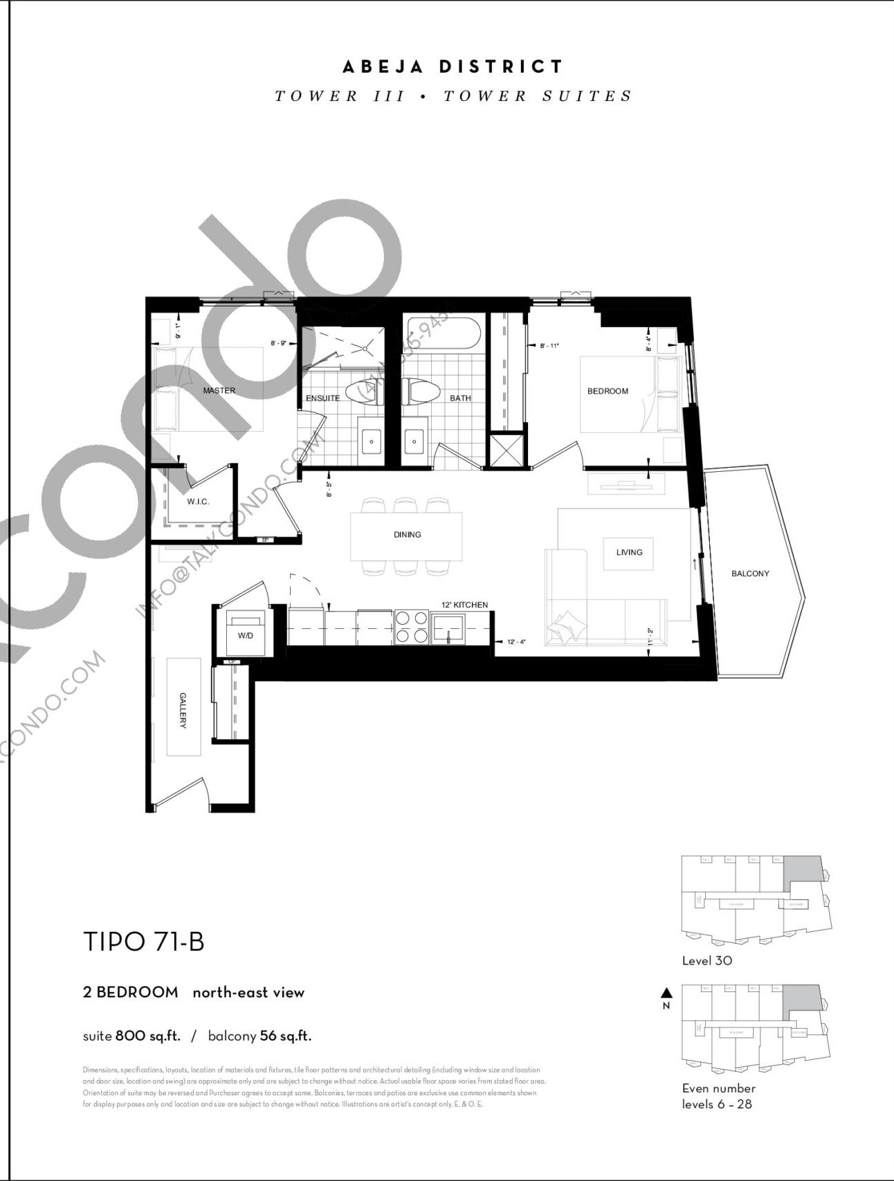 TIPO 71-B Floor Plan at Abeja District Condos Tower 3 - 800 sq.ft