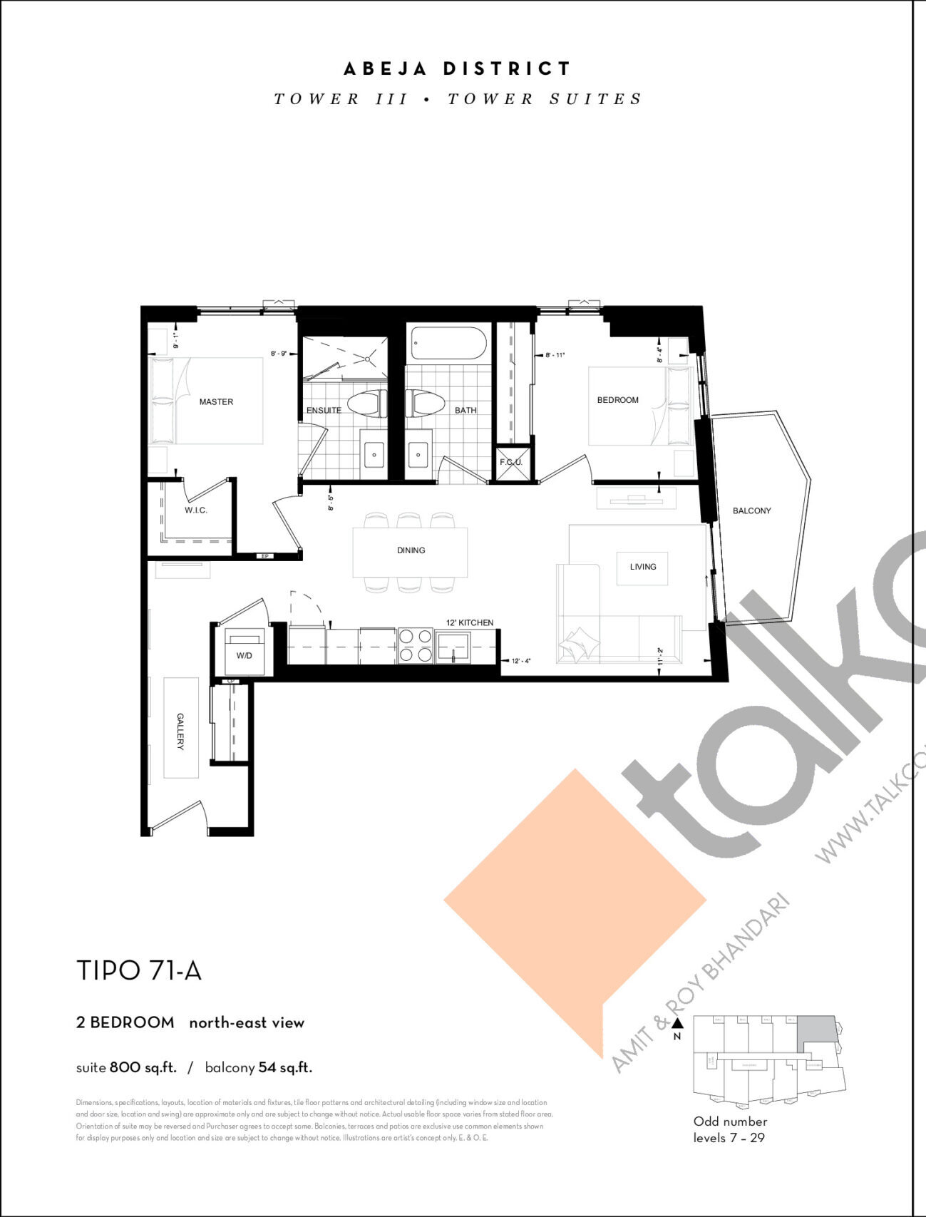 TIPO 71-A Floor Plan at Abeja District Condos Tower 3 - 800 sq.ft