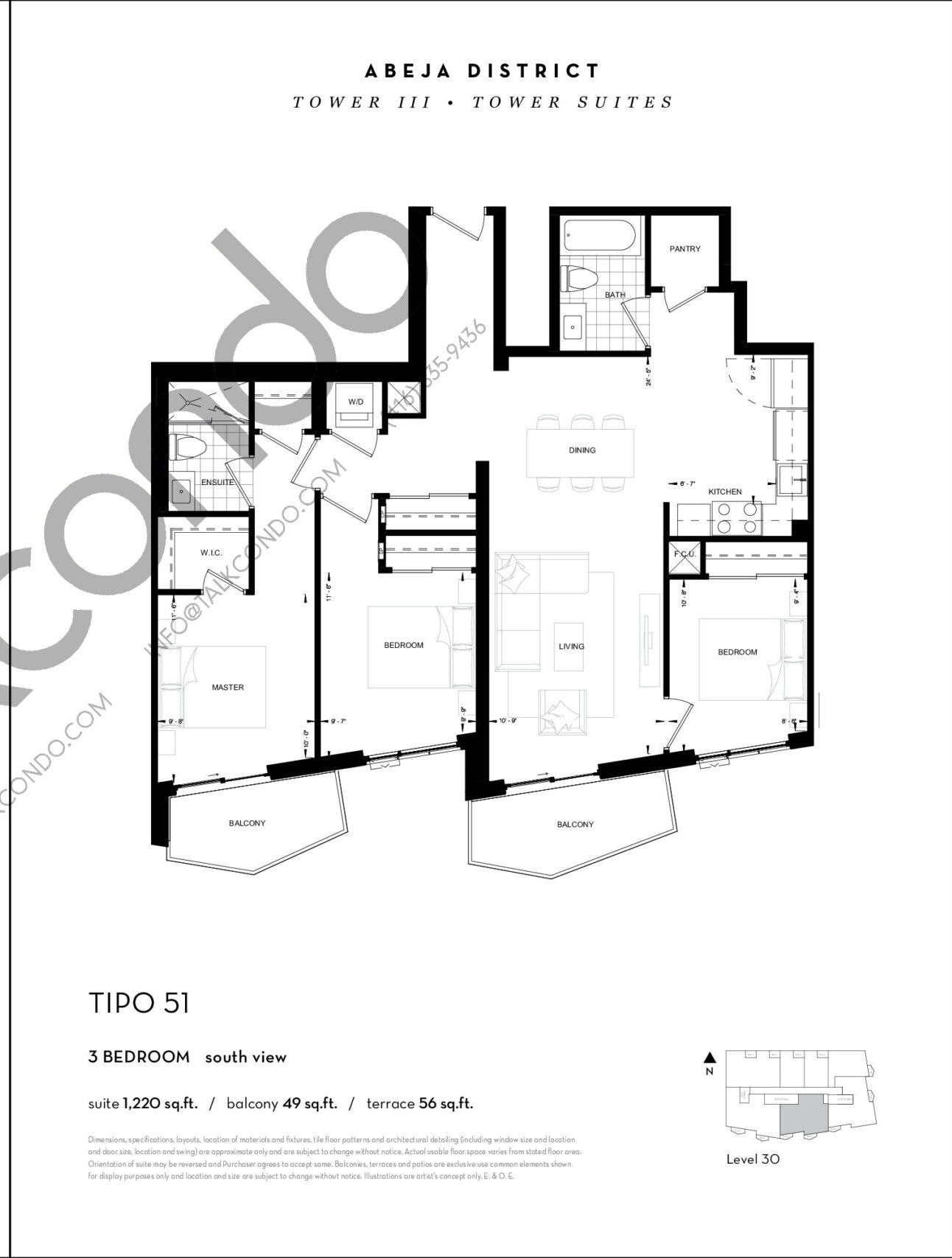TIPO 51 Floor Plan at Abeja District Condos Tower 3 - 1220 sq.ft