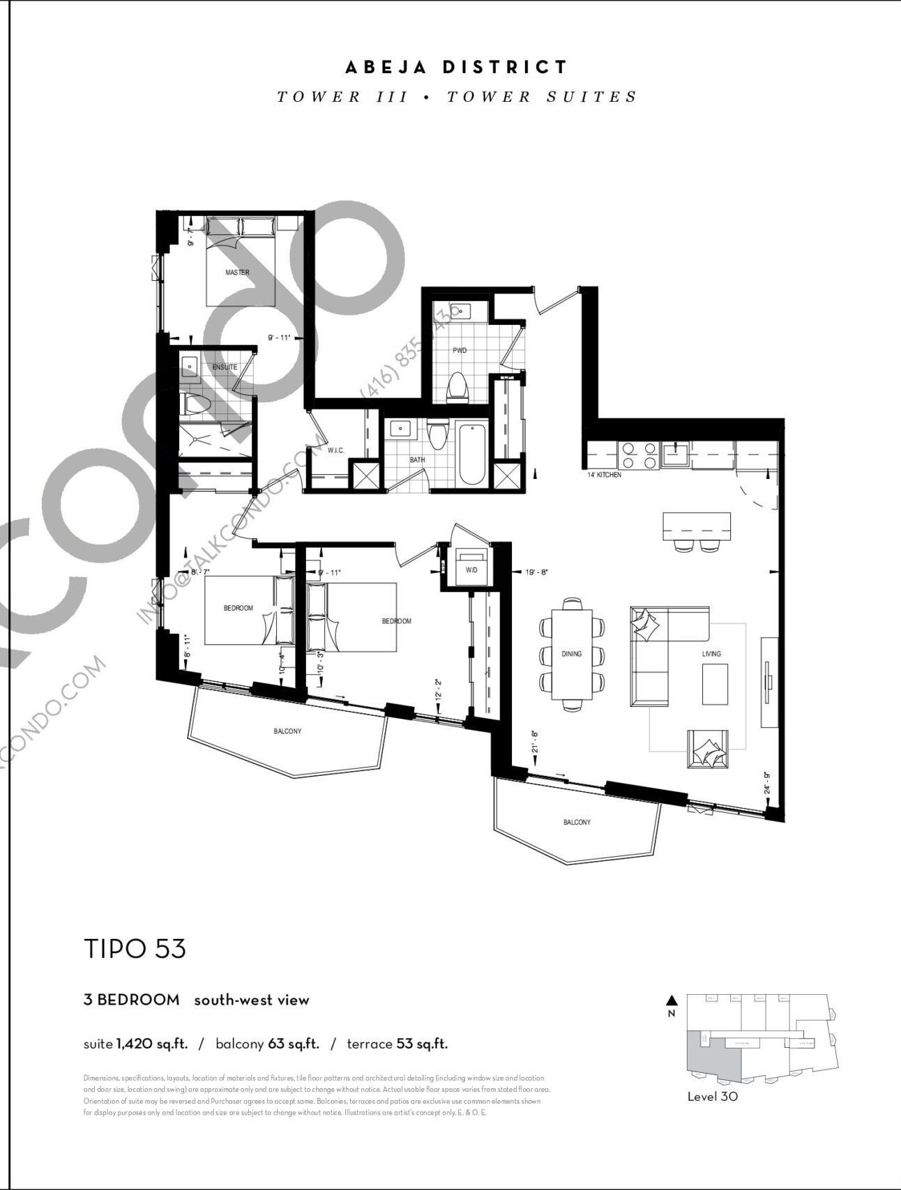 TIPO 53 Floor Plan at Abeja District Condos Tower 3 - 1420 sq.ft