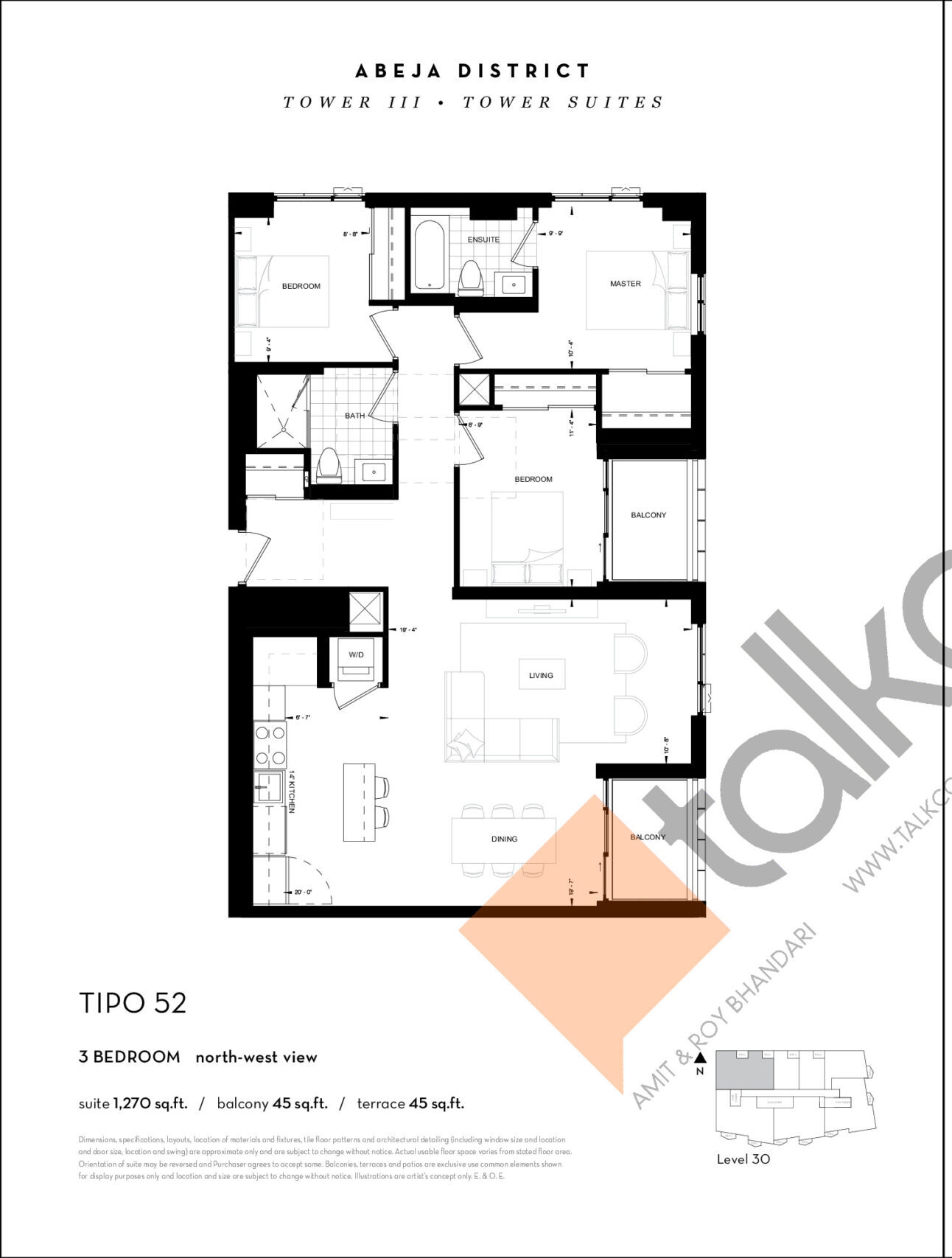TIPO 52 Floor Plan at Abeja District Condos Tower 3 - 1270 sq.ft