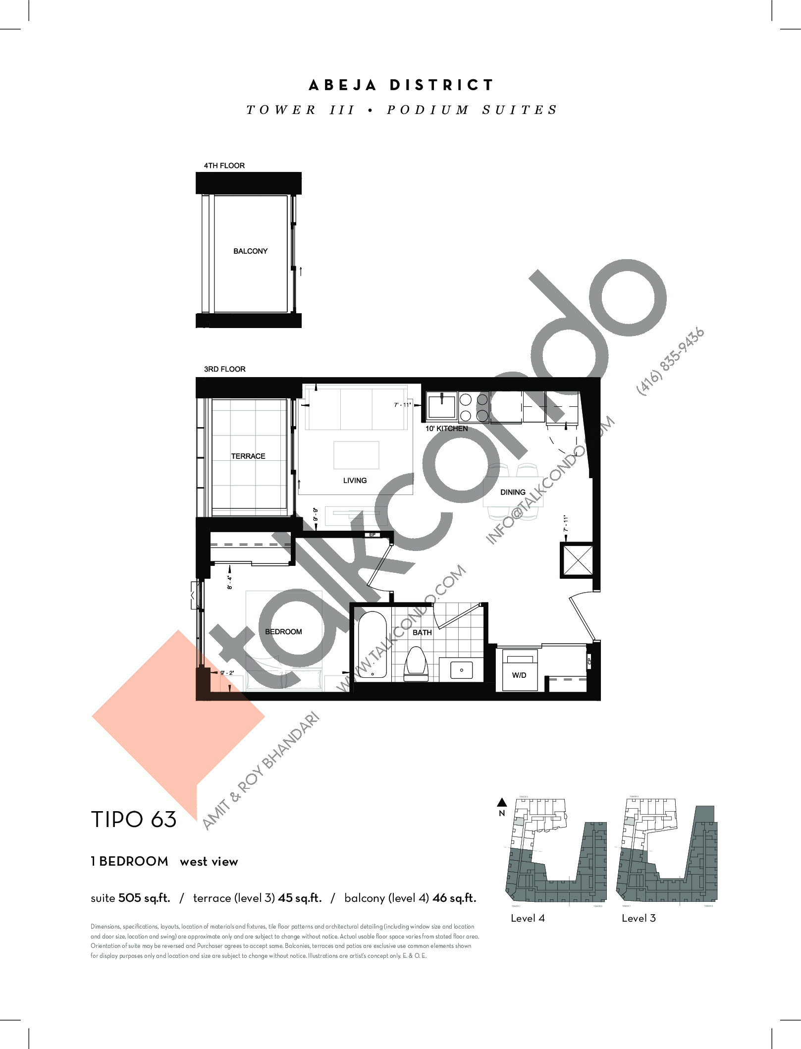 TIPO 63 Floor Plan at Abeja District Condos Tower 3 - 505 sq.ft