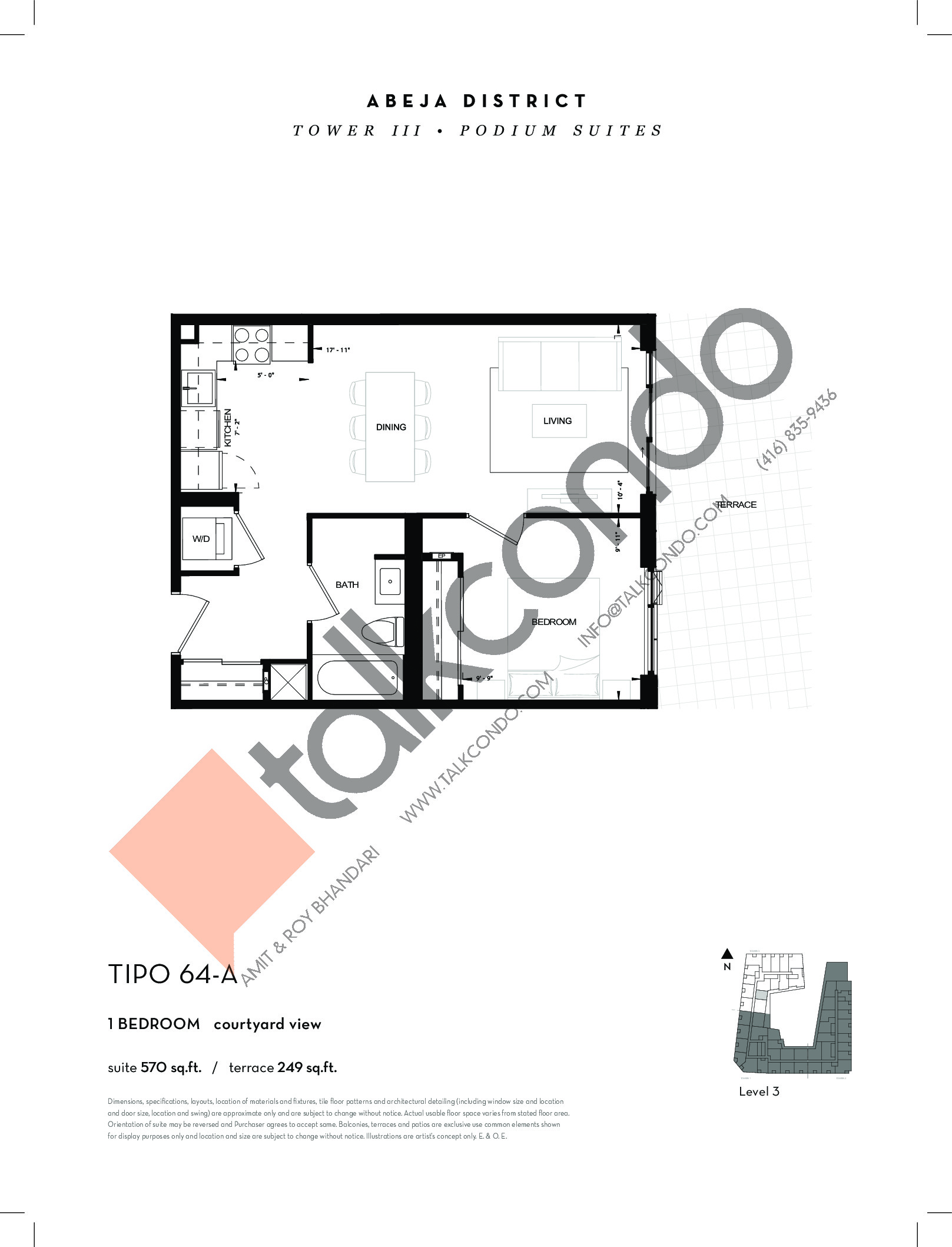 TIPO 64-A Floor Plan at Abeja District Condos Tower 3 - 570 sq.ft