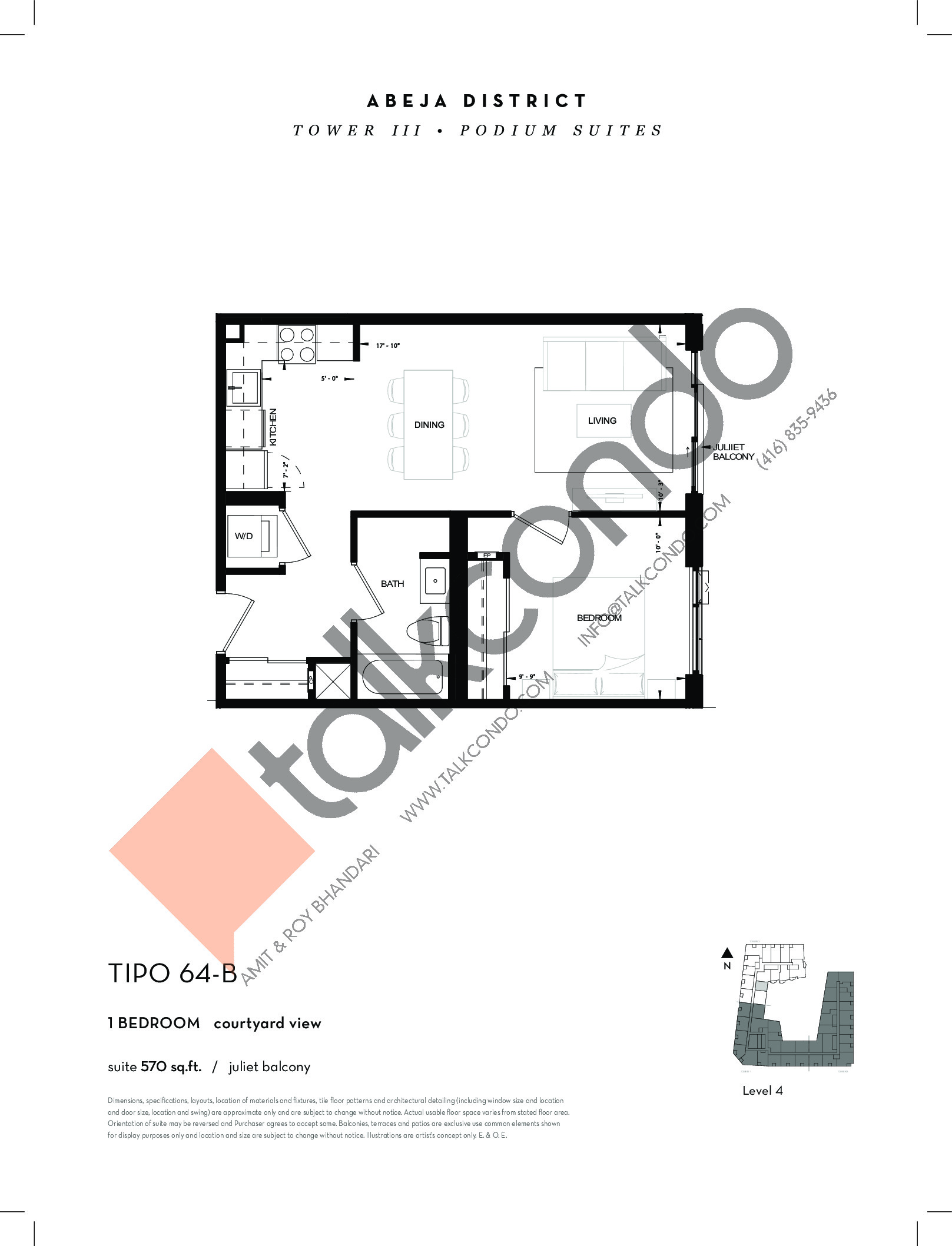 TIPO 64-B Floor Plan at Abeja District Condos Tower 3 - 570 sq.ft