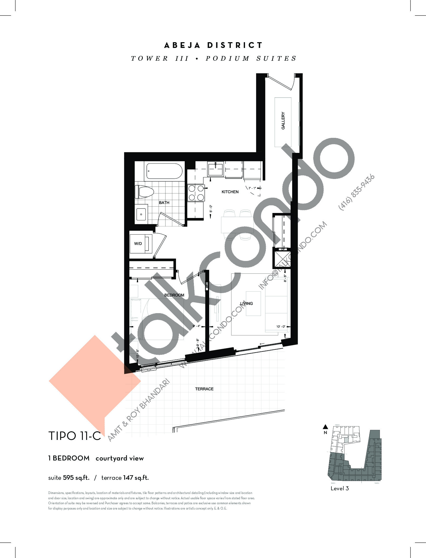 TIPO 11-C Floor Plan at Abeja District Condos Tower 3 - 595 sq.ft